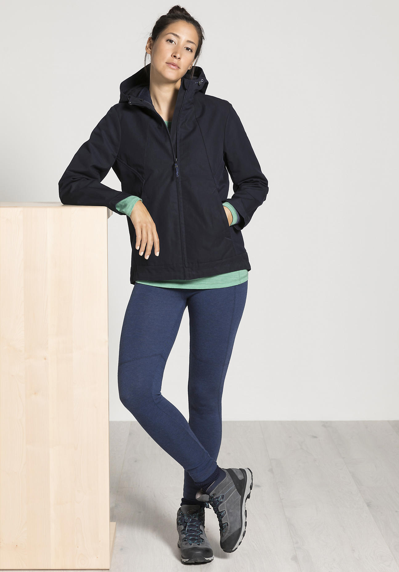 hessnatur Damen-Outdoor 3-in-1-Funktionsjacke Nature Shell für Sie - blau Größe 48