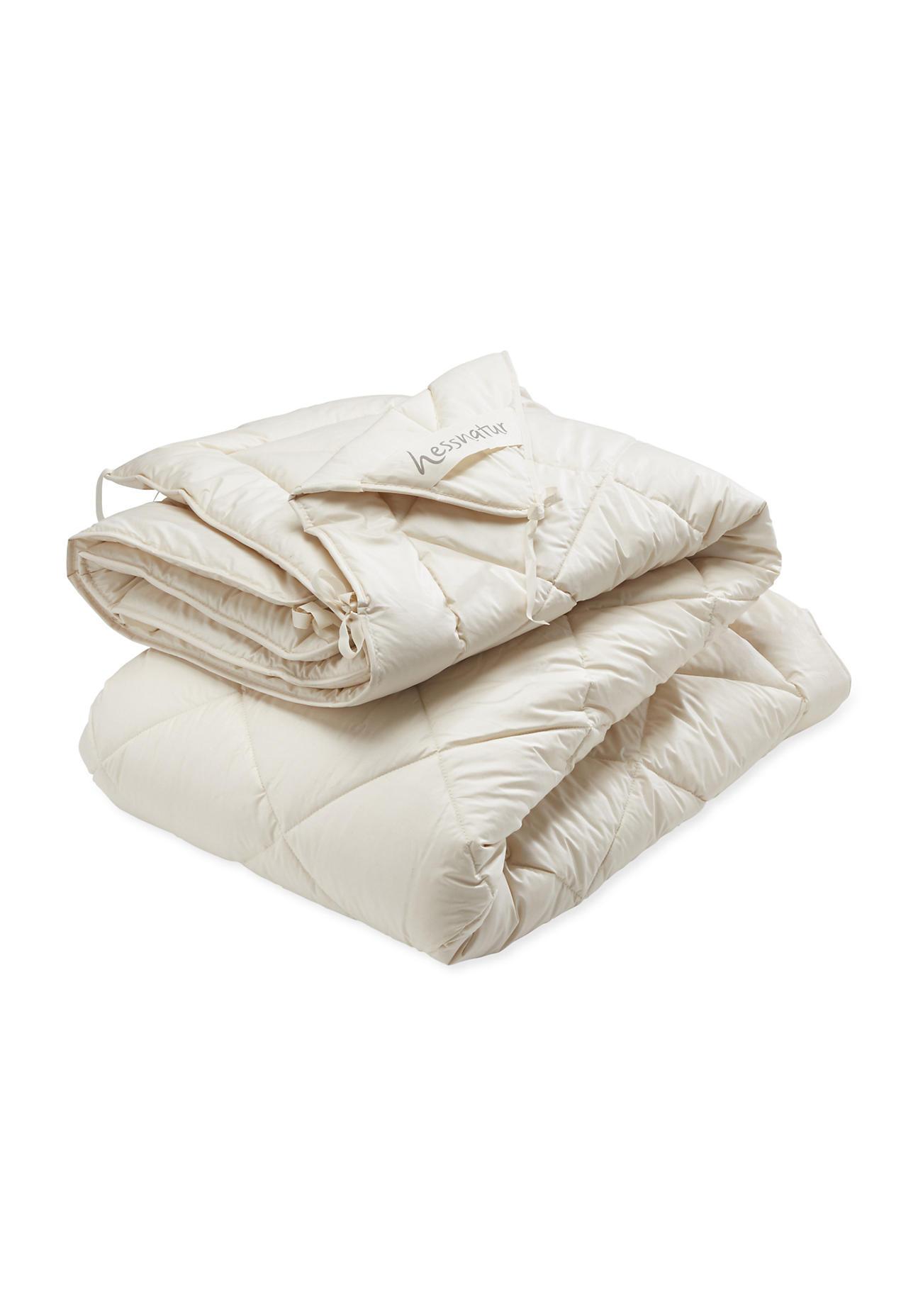 hessnatur 4-Jahreszeiten-Bettdecke mit reiner Bio-Schurwolle – naturfarben – Größe 135x200 cm 800/Füllung 1600g
