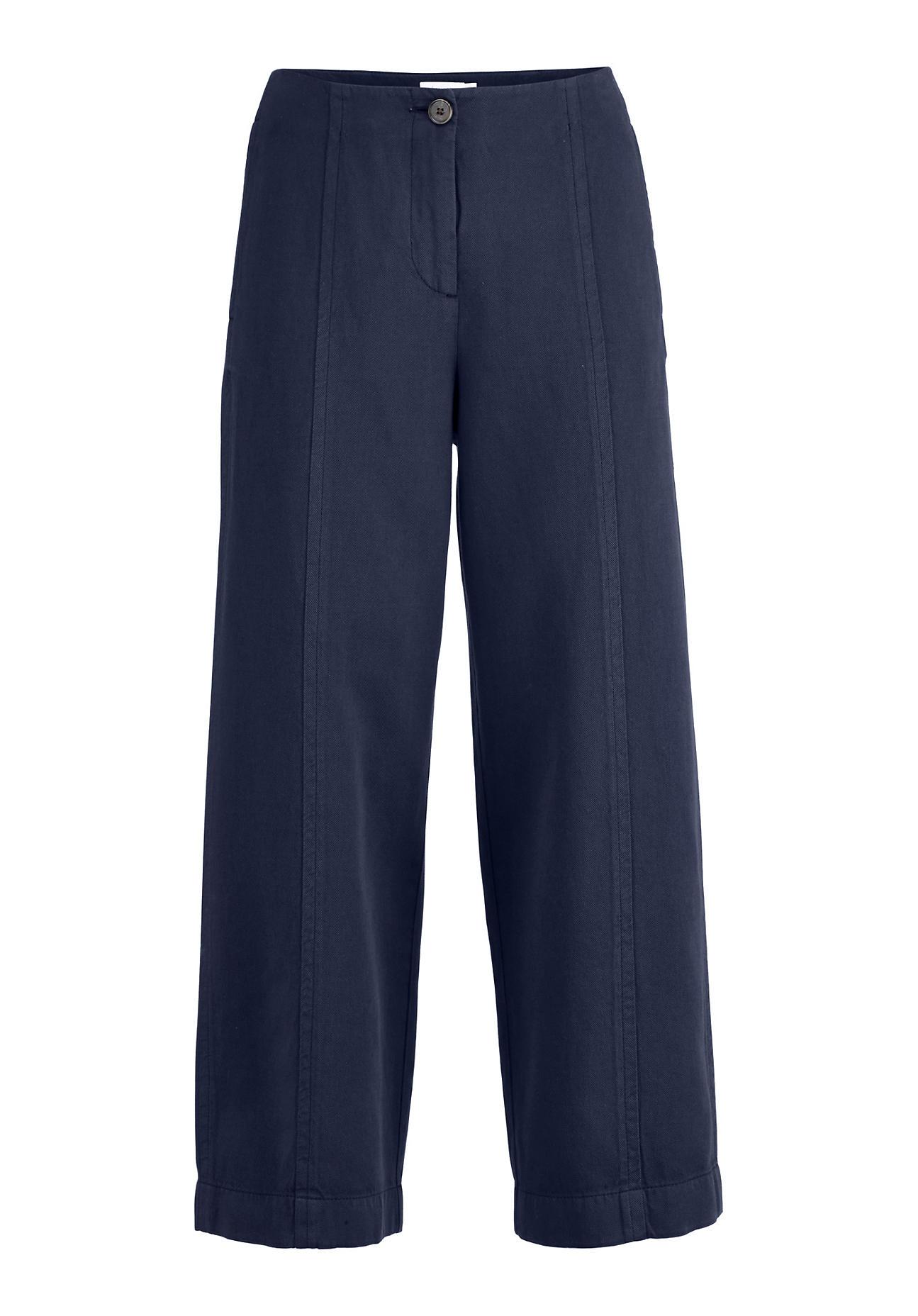 Hosen - hessnatur Damen 7 8 Hose aus Bio Baumwolle mit Leinen – blau –  - Onlineshop Hessnatur