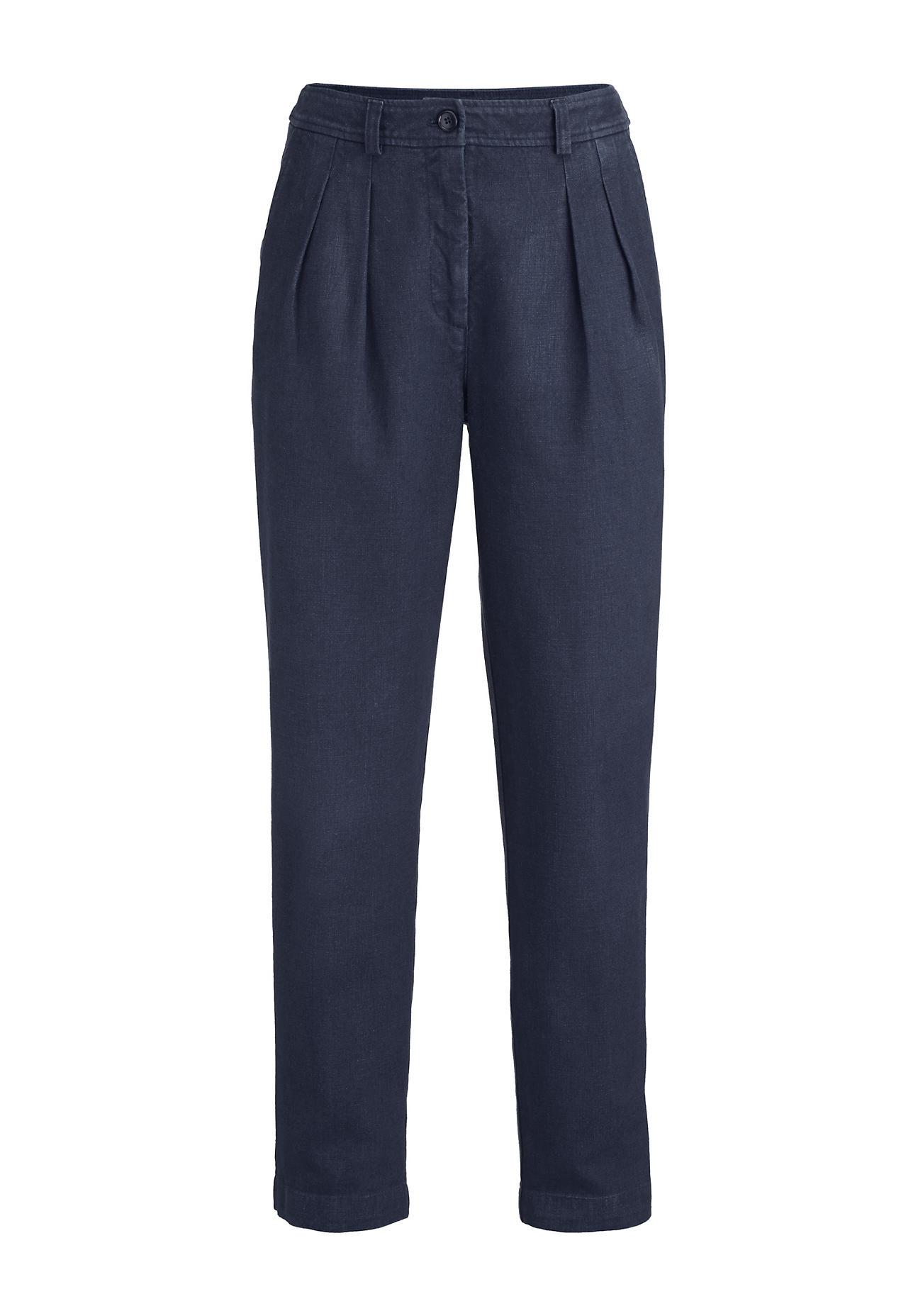 Hosen - hessnatur Damen 7 8 Hose aus Hanf mit Bio Baumwolle – blau –  - Onlineshop Hessnatur