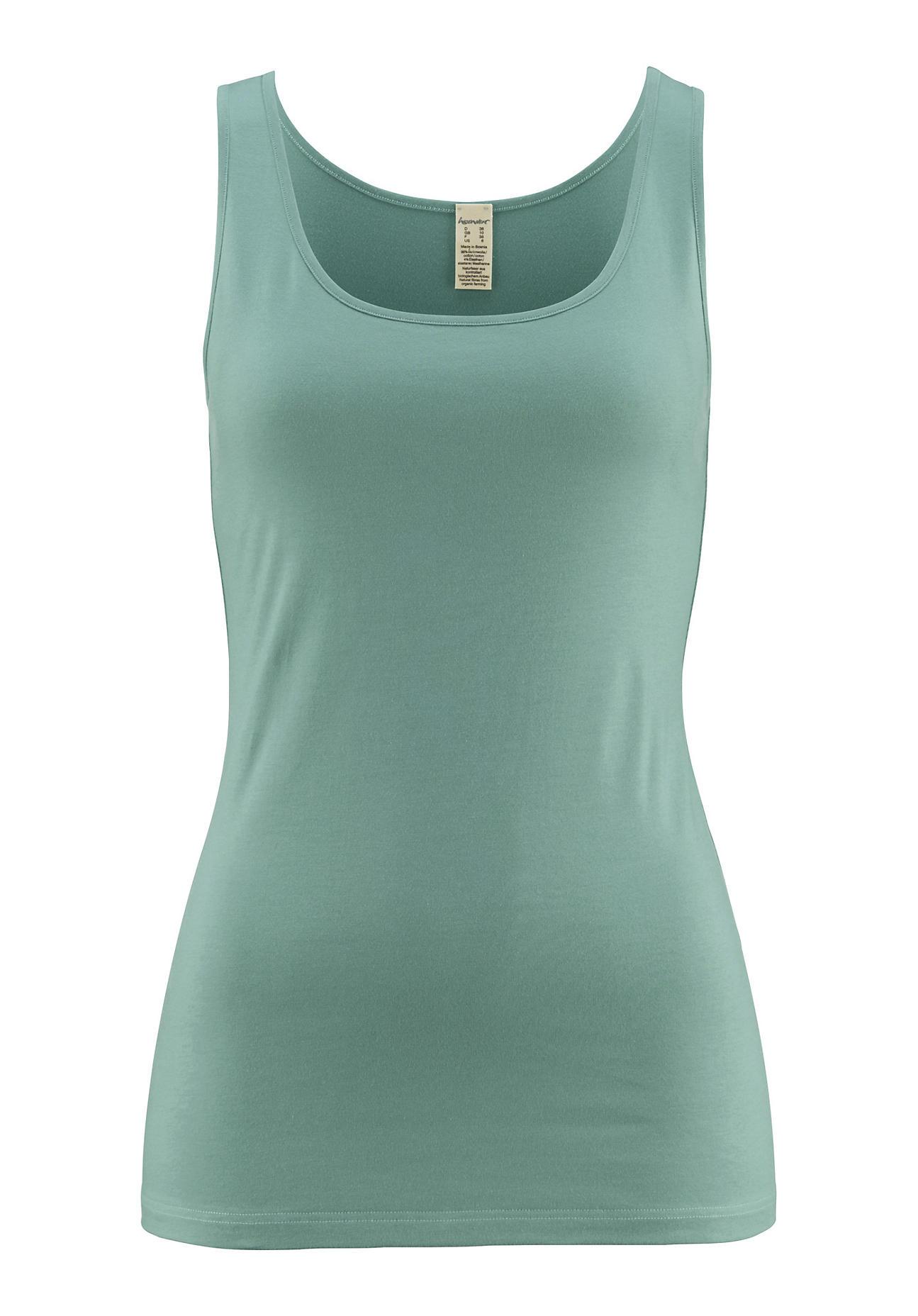 hessnatur Damen Achselhemd PureLUX aus Bio Baumwolle – grün – Größe 38