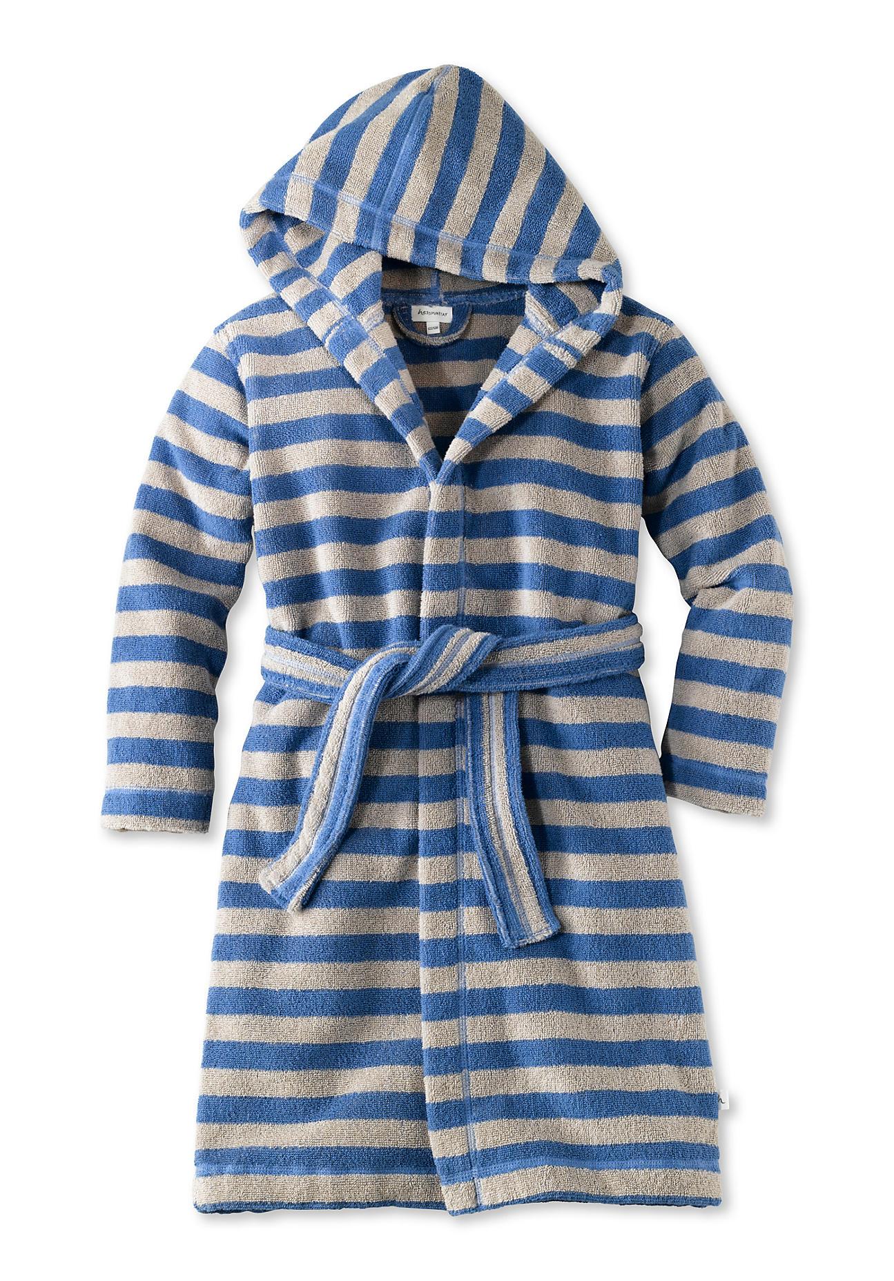 Image of hessnatur Baby Bademantel aus Bio-Baumwolle – blau – Größe 110/116
