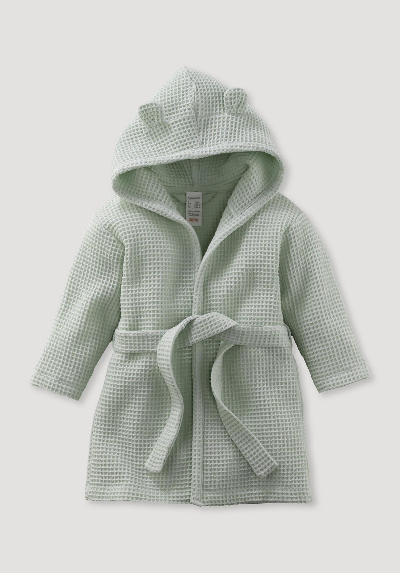 hessnatur Baby Bademantel aus Bio-Baumwolle – grün – Größe 86/92