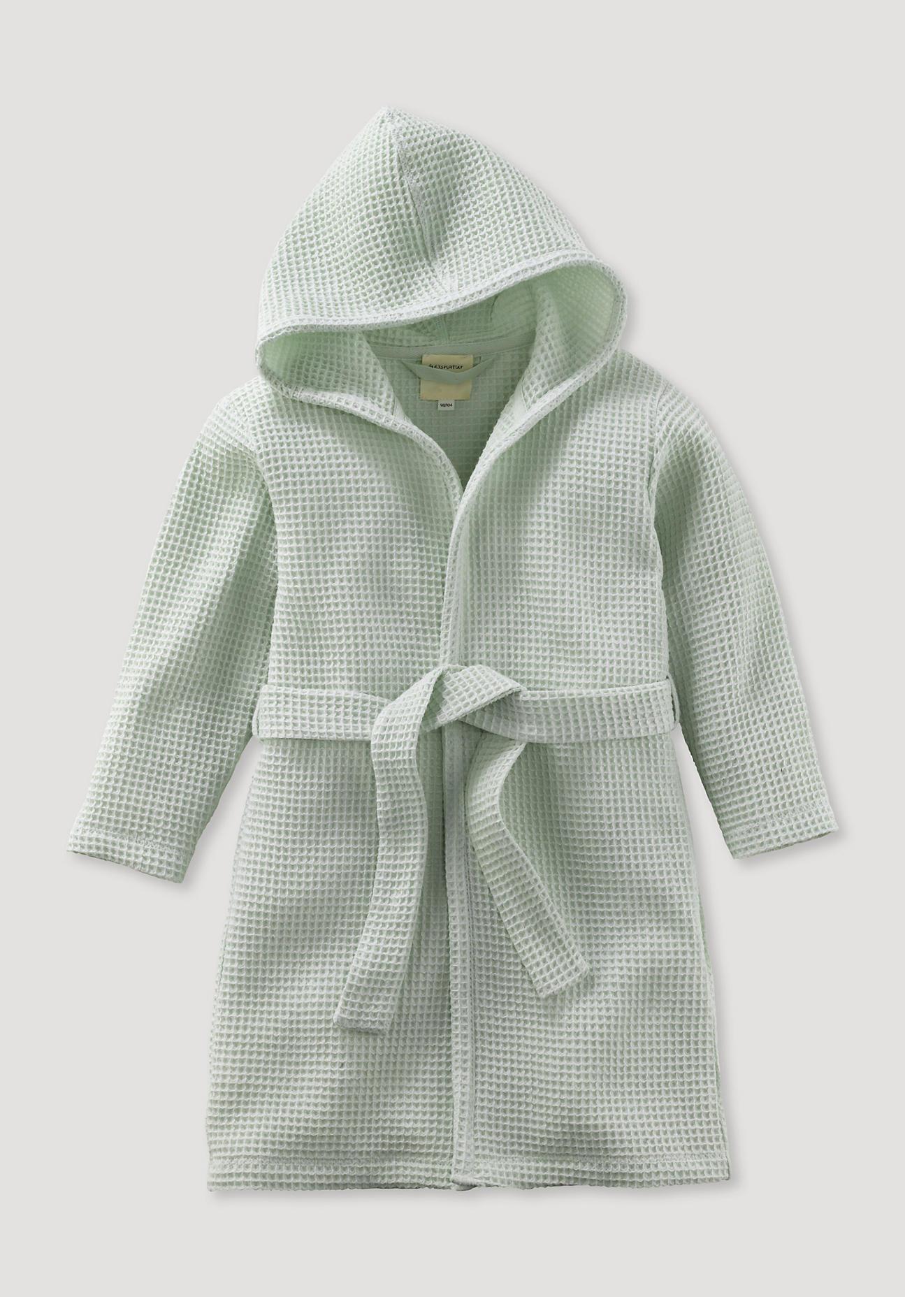 hessnatur Baby Bademantel aus Bio-Baumwolle – grün – Größe 98/104
