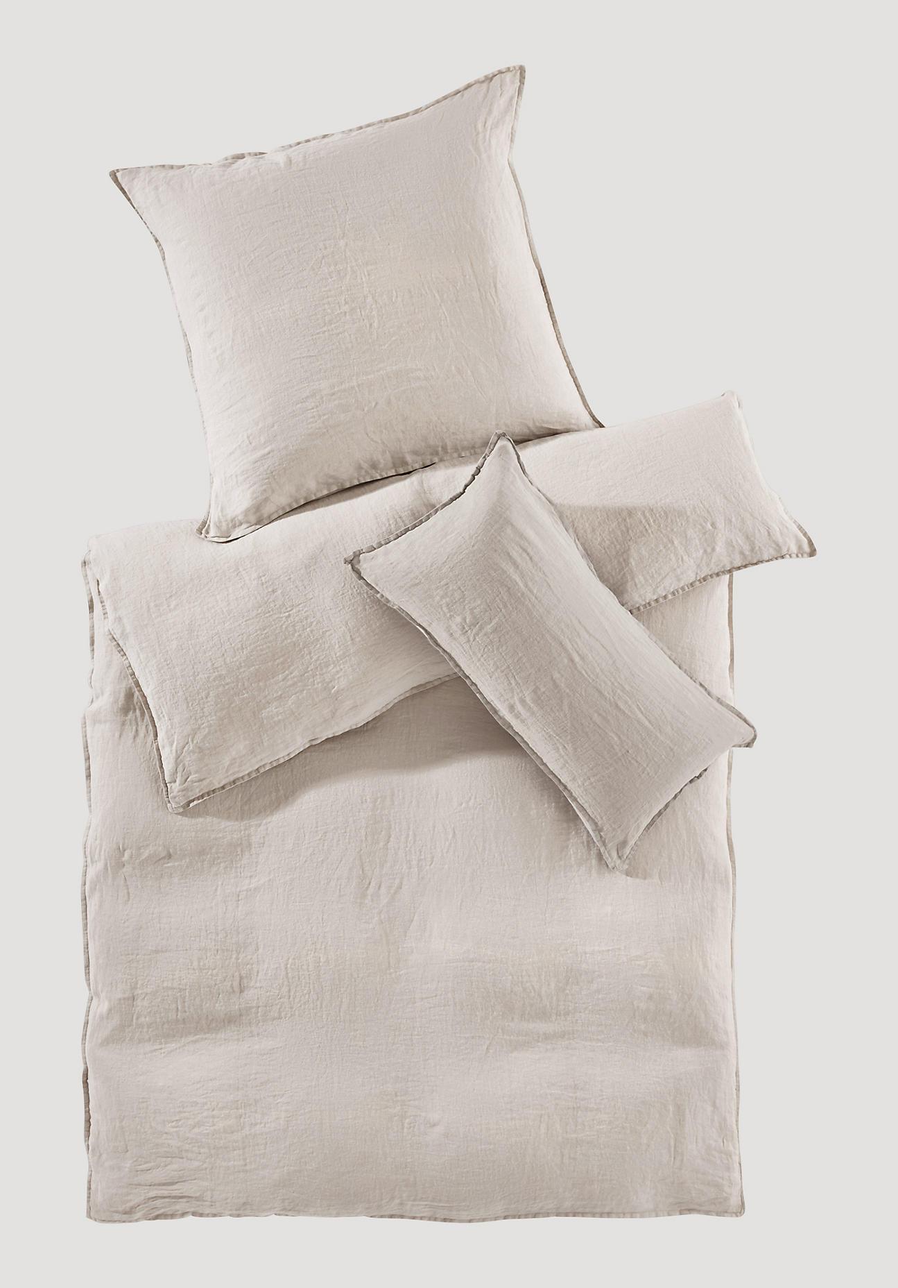 hessnatur Bettwäsche aus Bio-Leinen – beige – Größe 155x220+80x80 cm