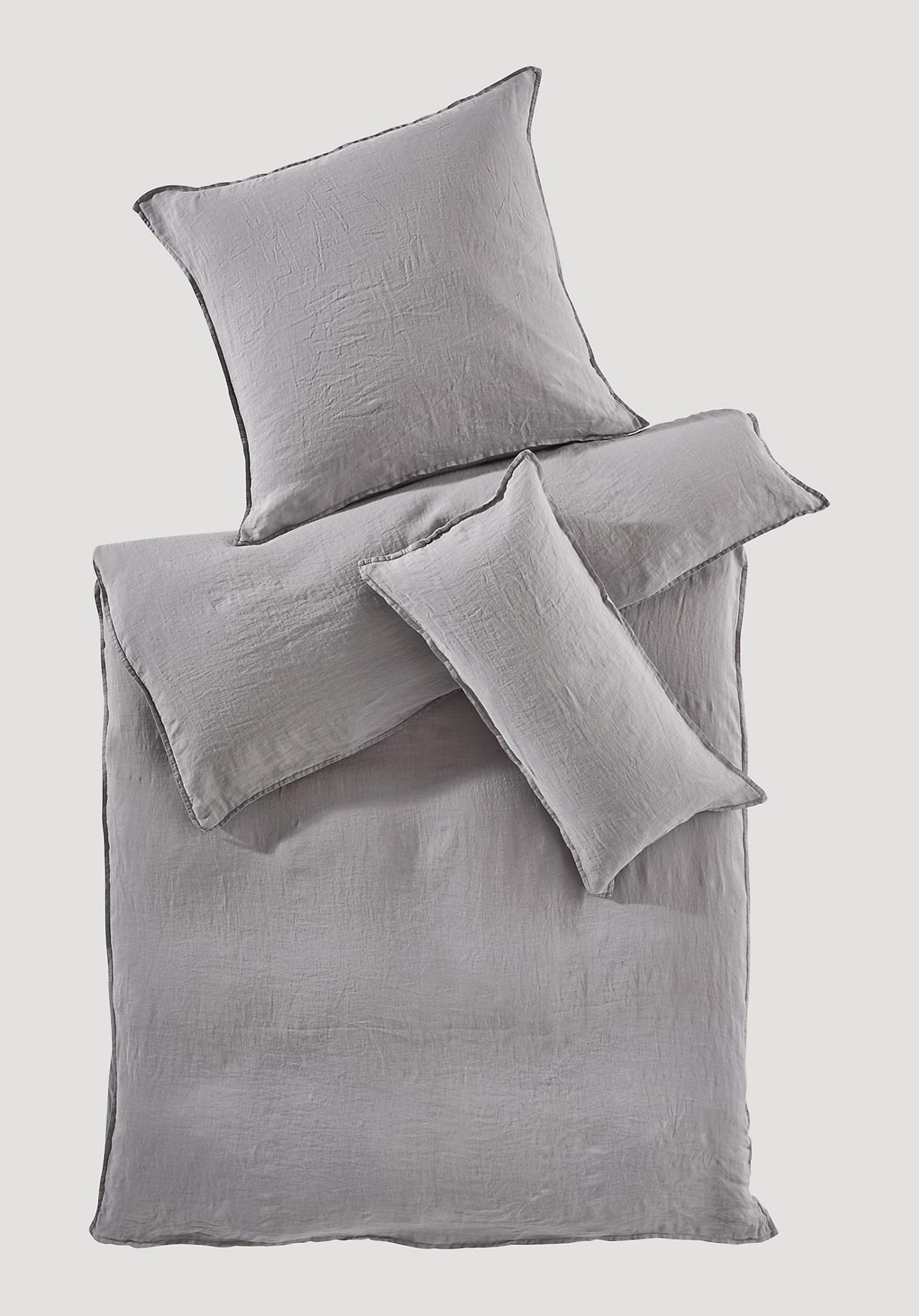 hessnatur Bettwäsche aus Bio-Leinen – grau – Größe 155x220+80x80 cm