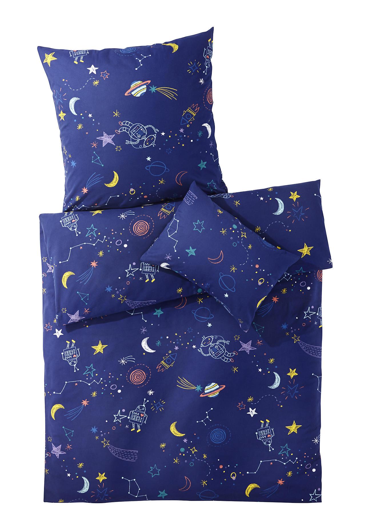 Image of hessnatur Baby Biber-Bettwäsche aus Bio-Baumwolle – blau – Größe 100x135 / 40x60 cm