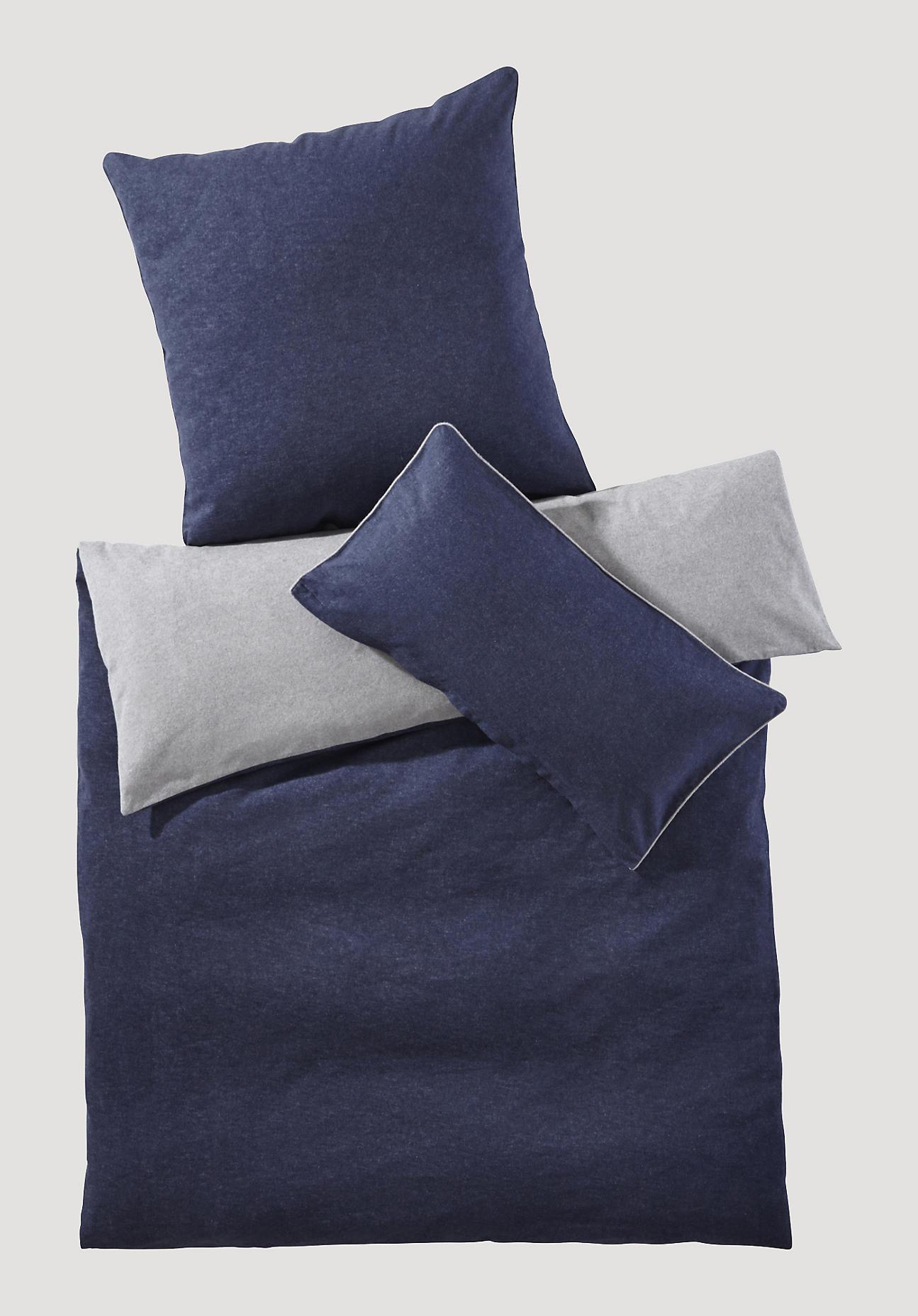 hessnatur Biber-Wende-Bettwäsche aus Bio-Baumwolle – blau – Größe 155x220+40x80 cm