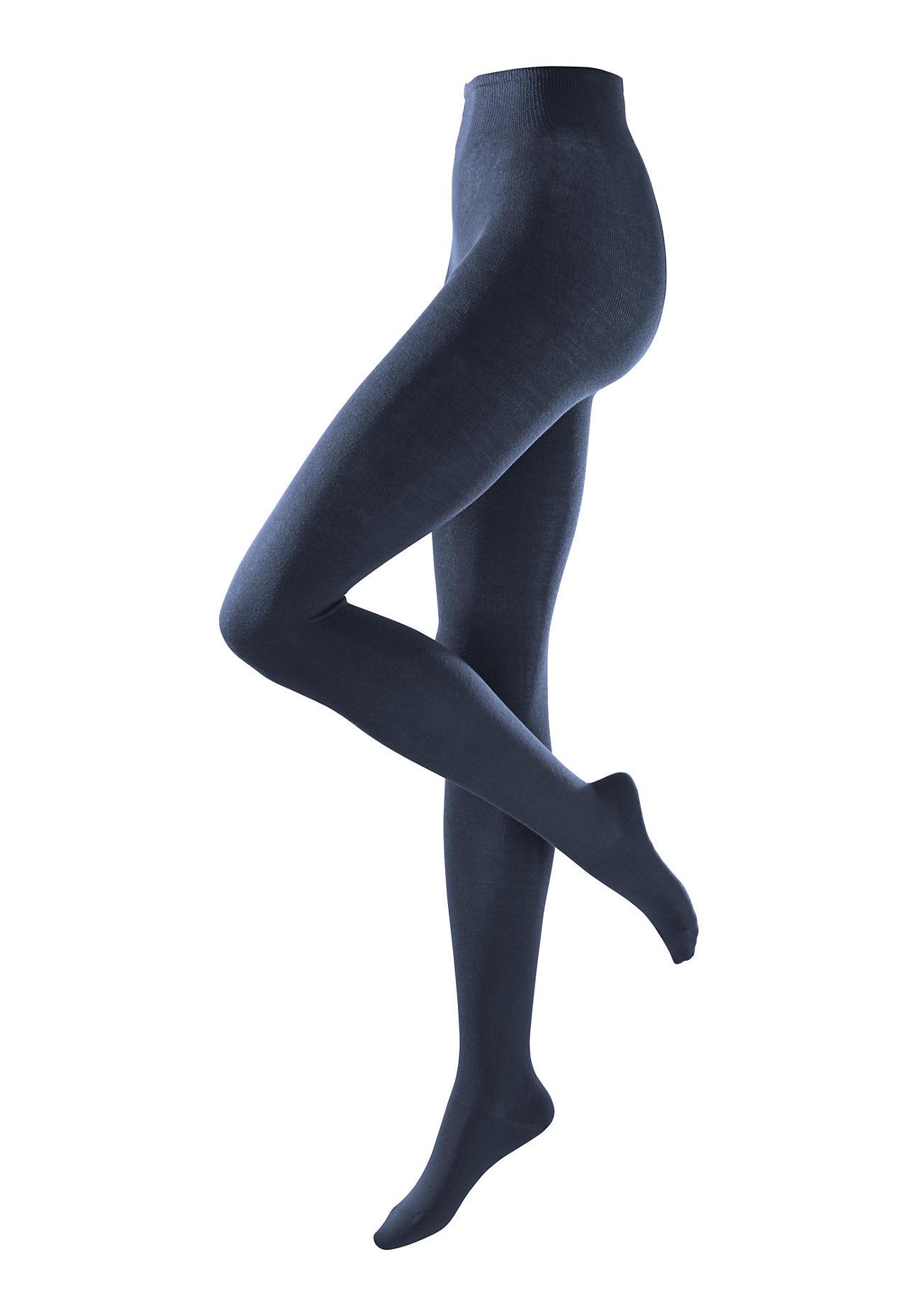 hessnatur Blickdichte Strumpfhose aus Bio-Baumwolle – blau – Größe 36/38