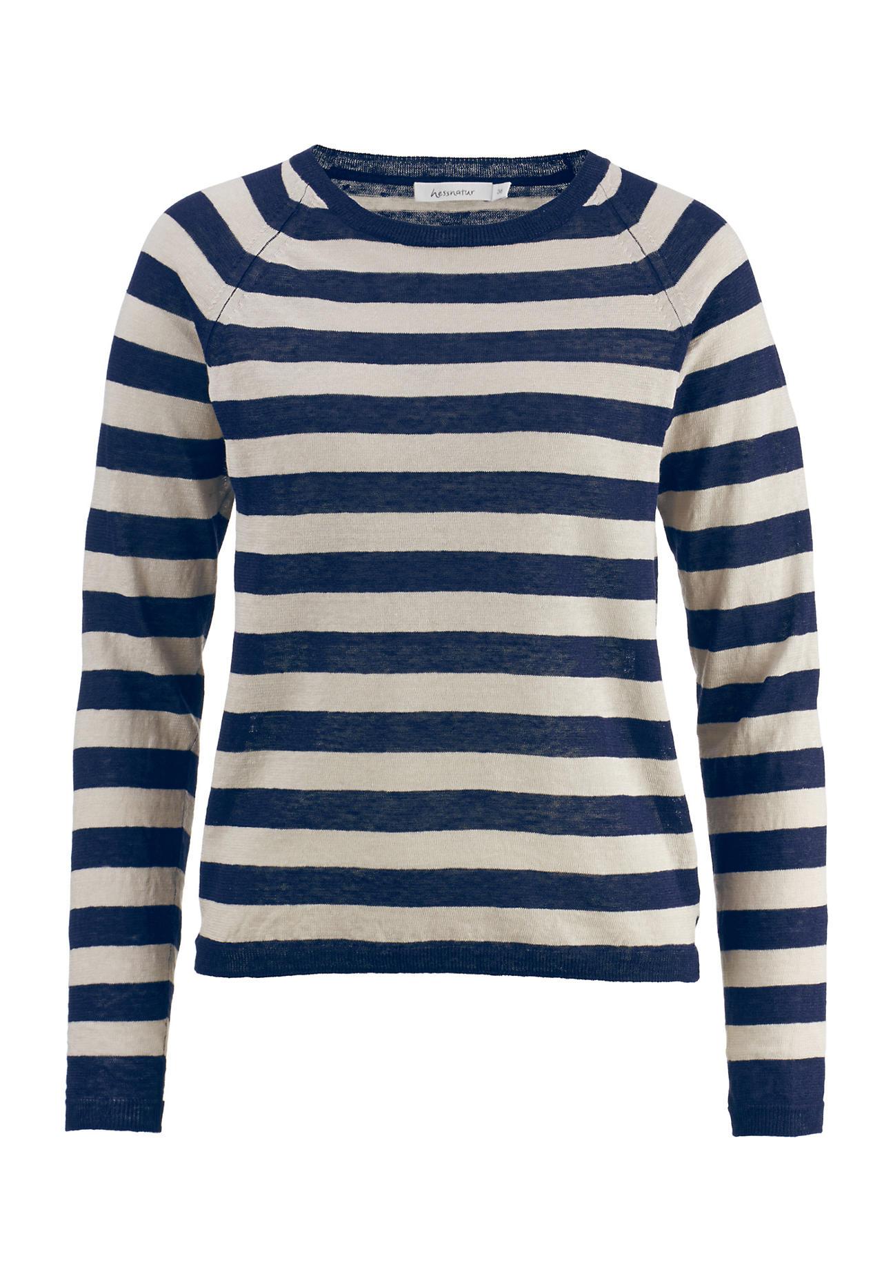 hessnatur Damen Blockstreifen-Pullover aus Leinen mit Seide – blau – Größe 36