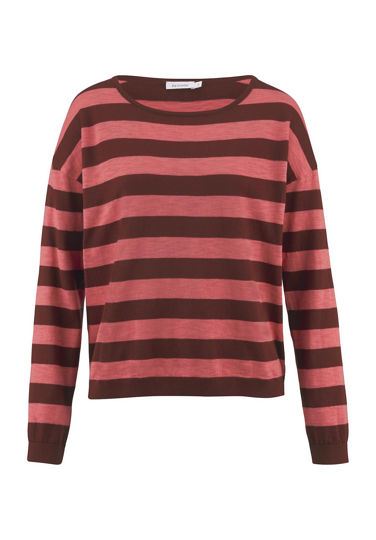 hessnatur Damen Blockstreifen-Pullover aus Bio-Baumwolle – rot – Größe 40 | Bekleidung > Pullover > Streifenpullover | Cayennerot | hessnatur