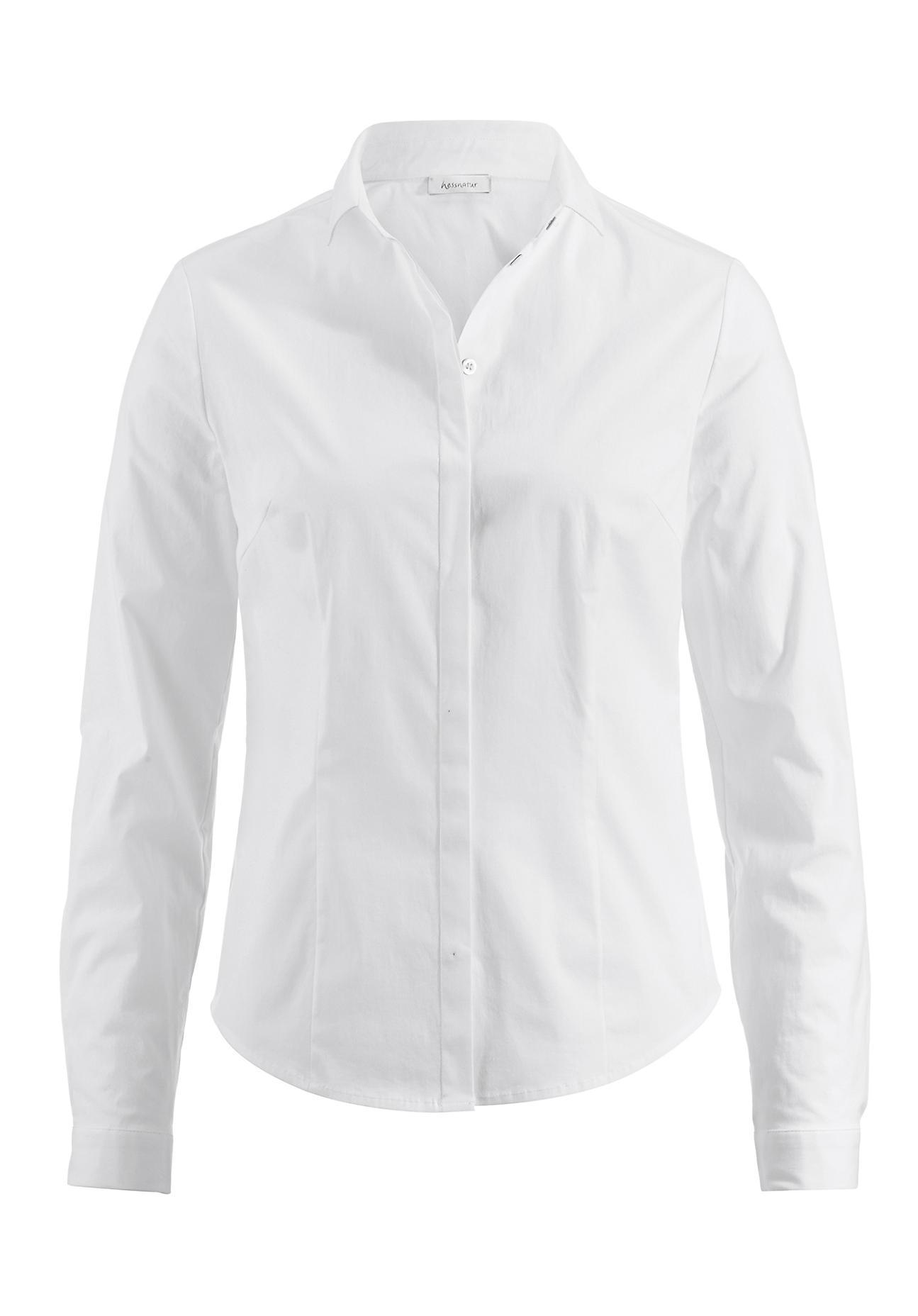 hessnatur Damen Bluse Slim Fit aus Bio-Baumwolle – weiß – Größe 36