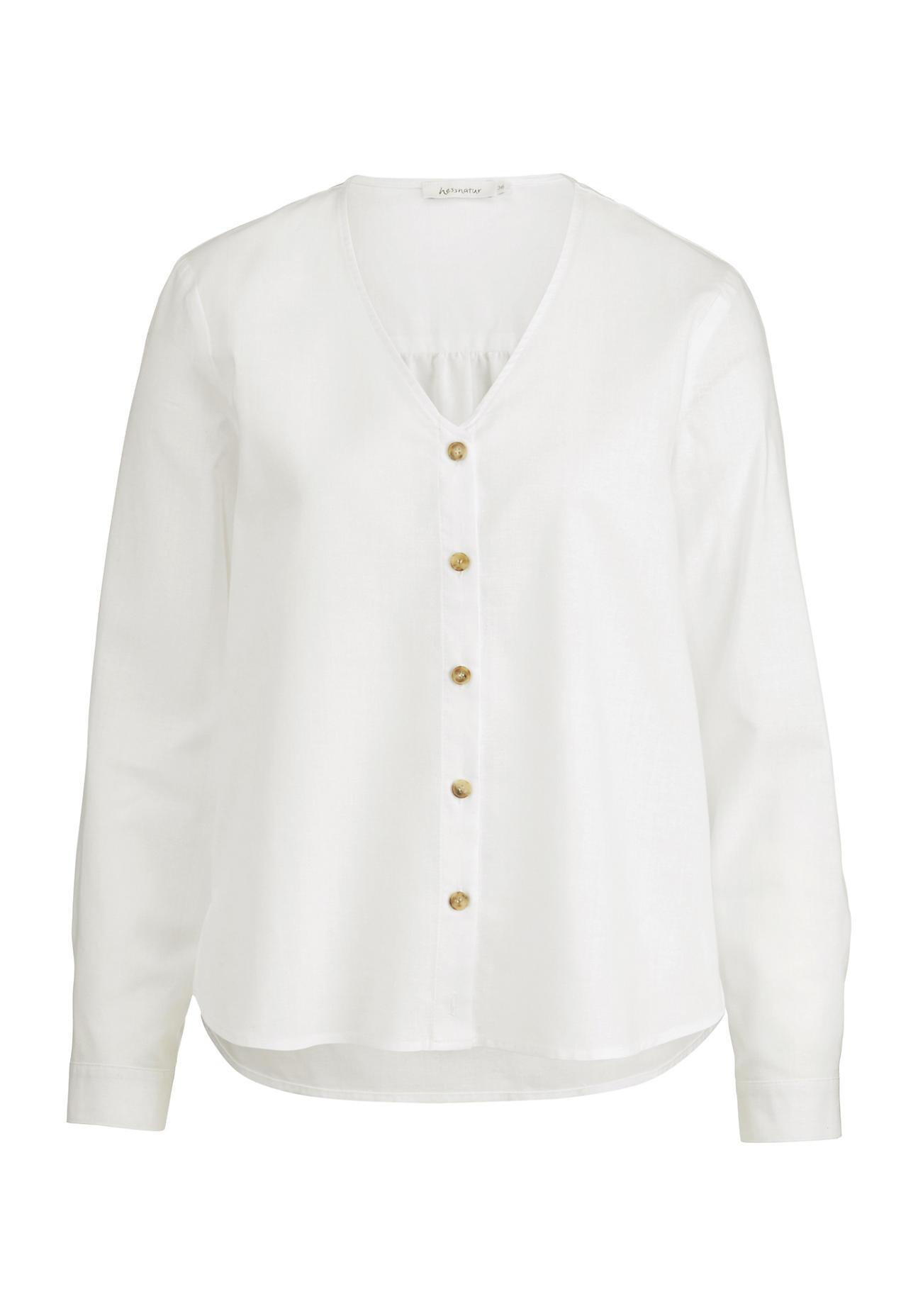 hessnatur Damen Bluse aus Bananenfaser mit Bio-Baumwolle – weiß – Größe 36