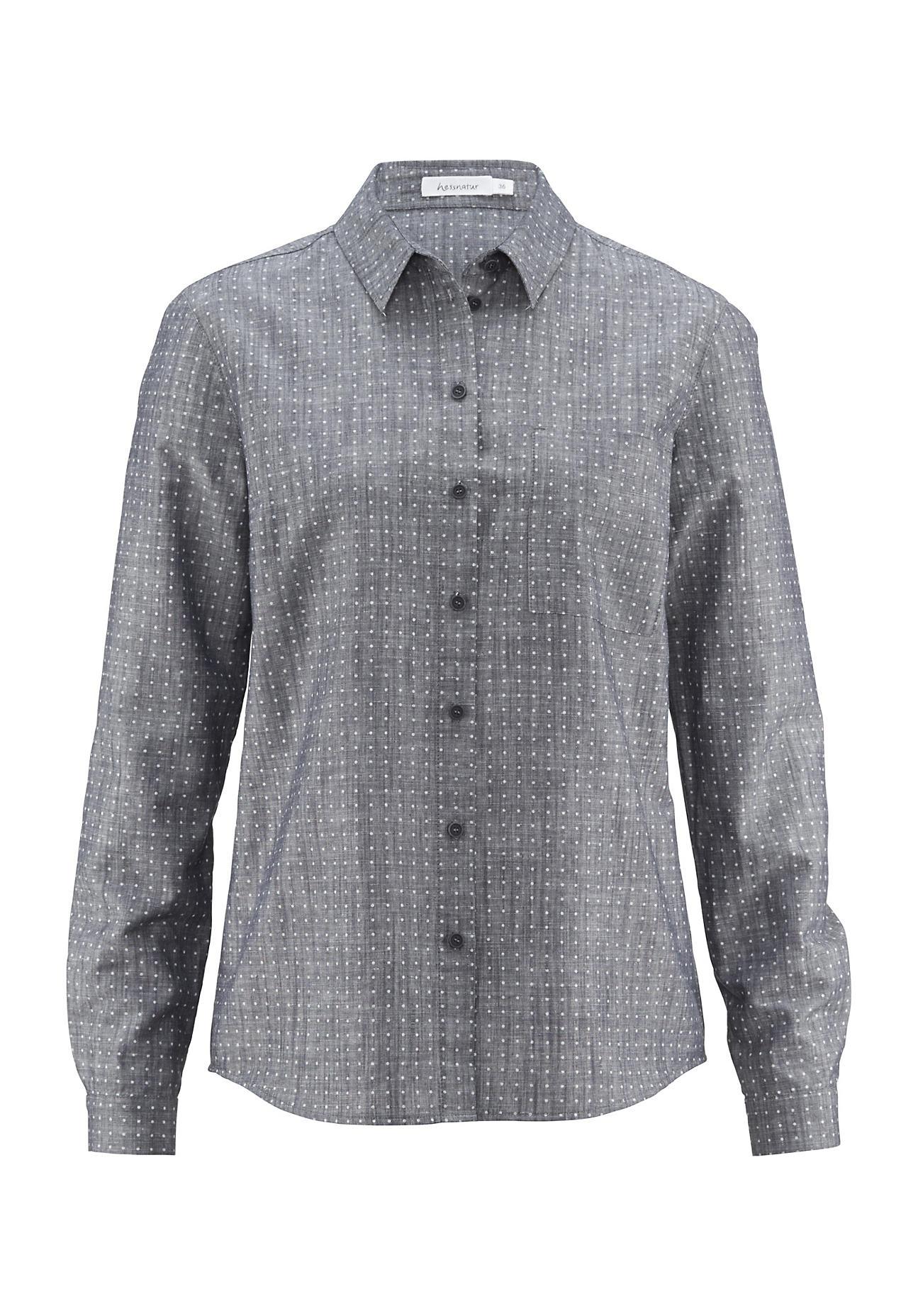 hessnatur Damen Bluse aus Bio Baumwolle mit Leinen – blau – Größe 38