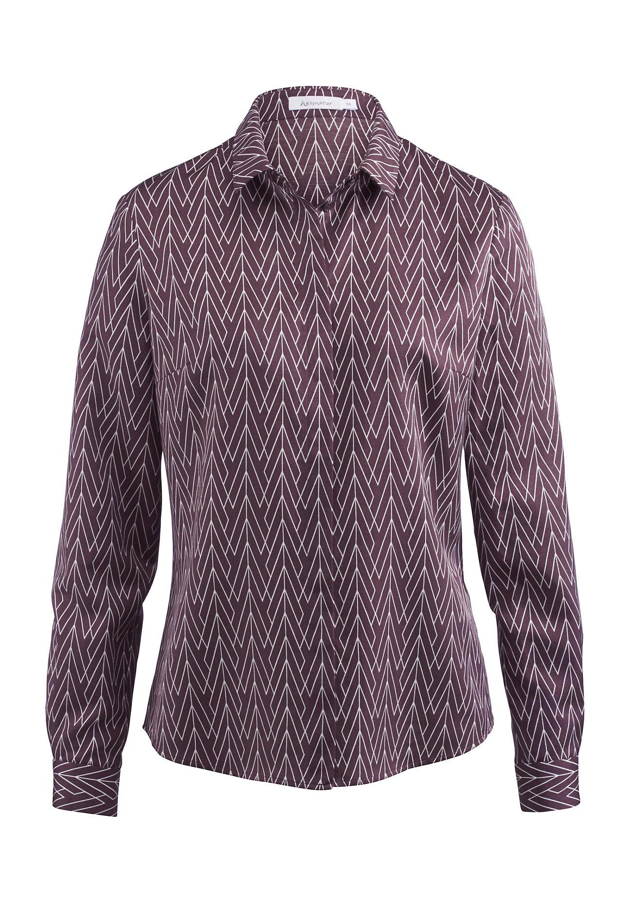 hessnatur -  Damen Bluse aus Bio-Baumwolle mit Seide und Hanf – lila – Größe 36
