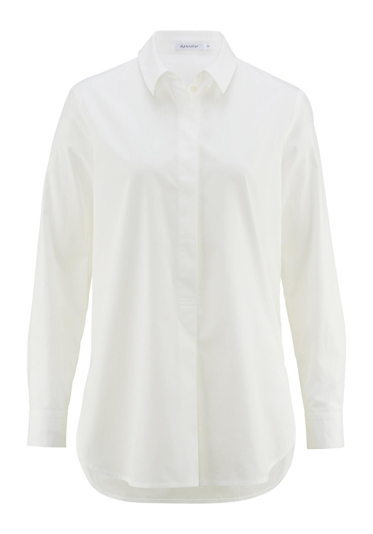 hessnatur Damen Bluse aus Bio Baumwolle – weiß – Größe 38