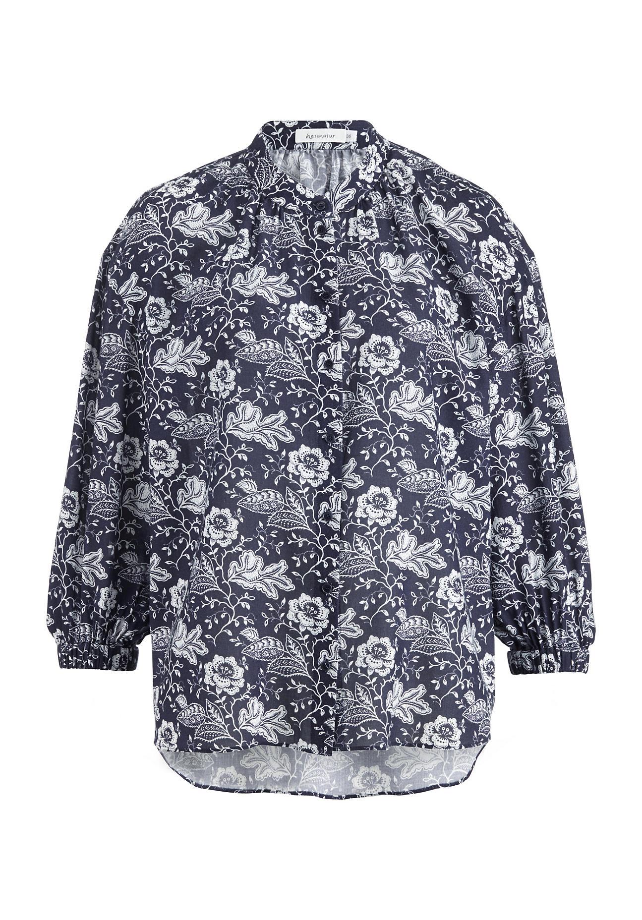 hessnatur Damen Bluse aus Bio-Baumwolle – blau – Größe 36