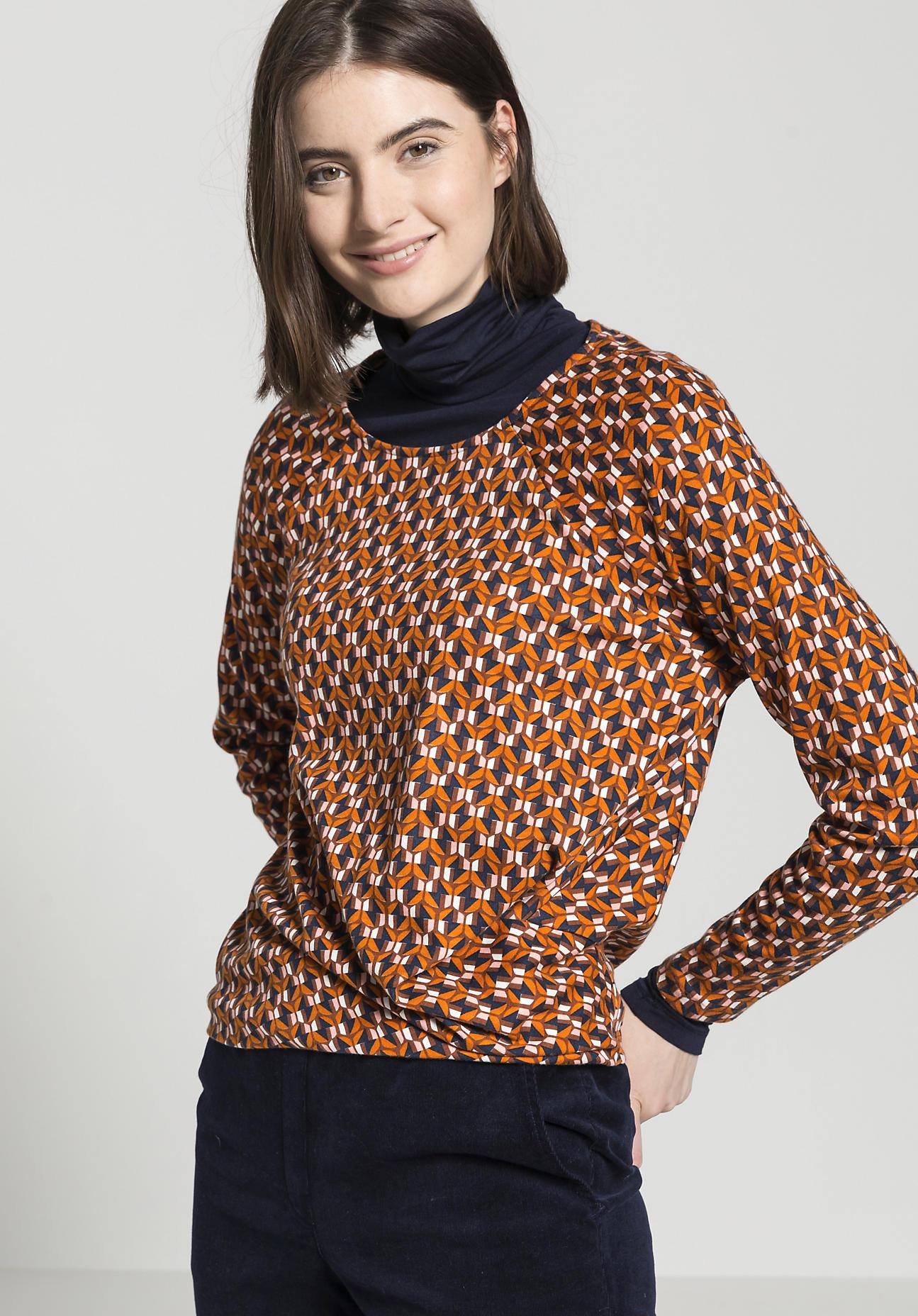 hessnatur Damen Blusen-Shirt aus Bio-Baumwolle und Modal - orange Größe 46