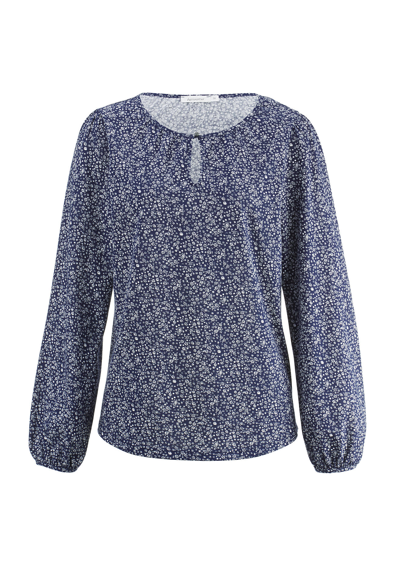 hessnatur Damen Blusen-Shirt aus Bio-Baumwolle – blau – Größe 40