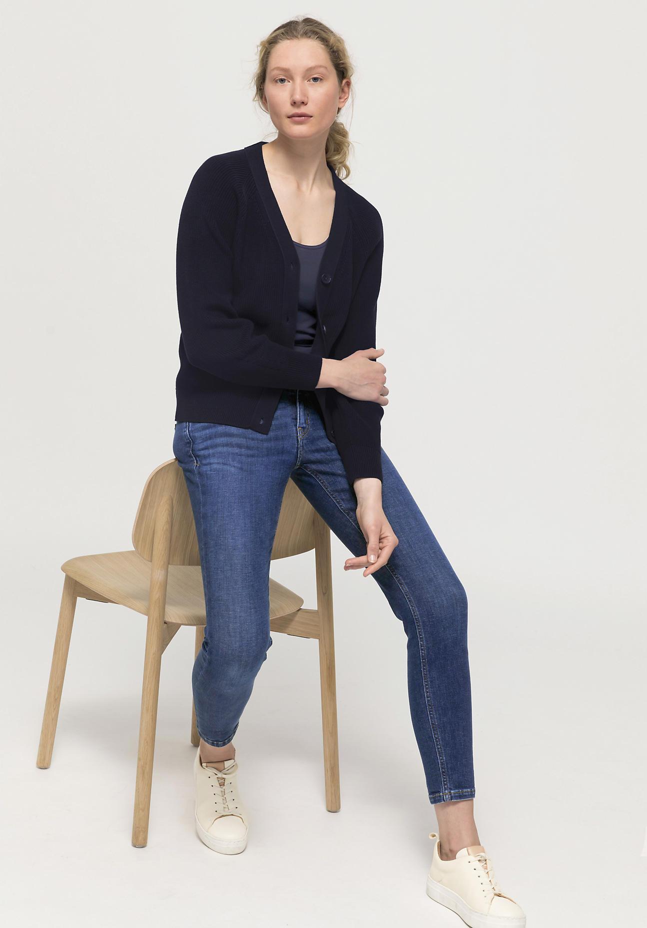 hessnatur Damen Cardigan aus Bio-Baumwolle - marine Größe 34