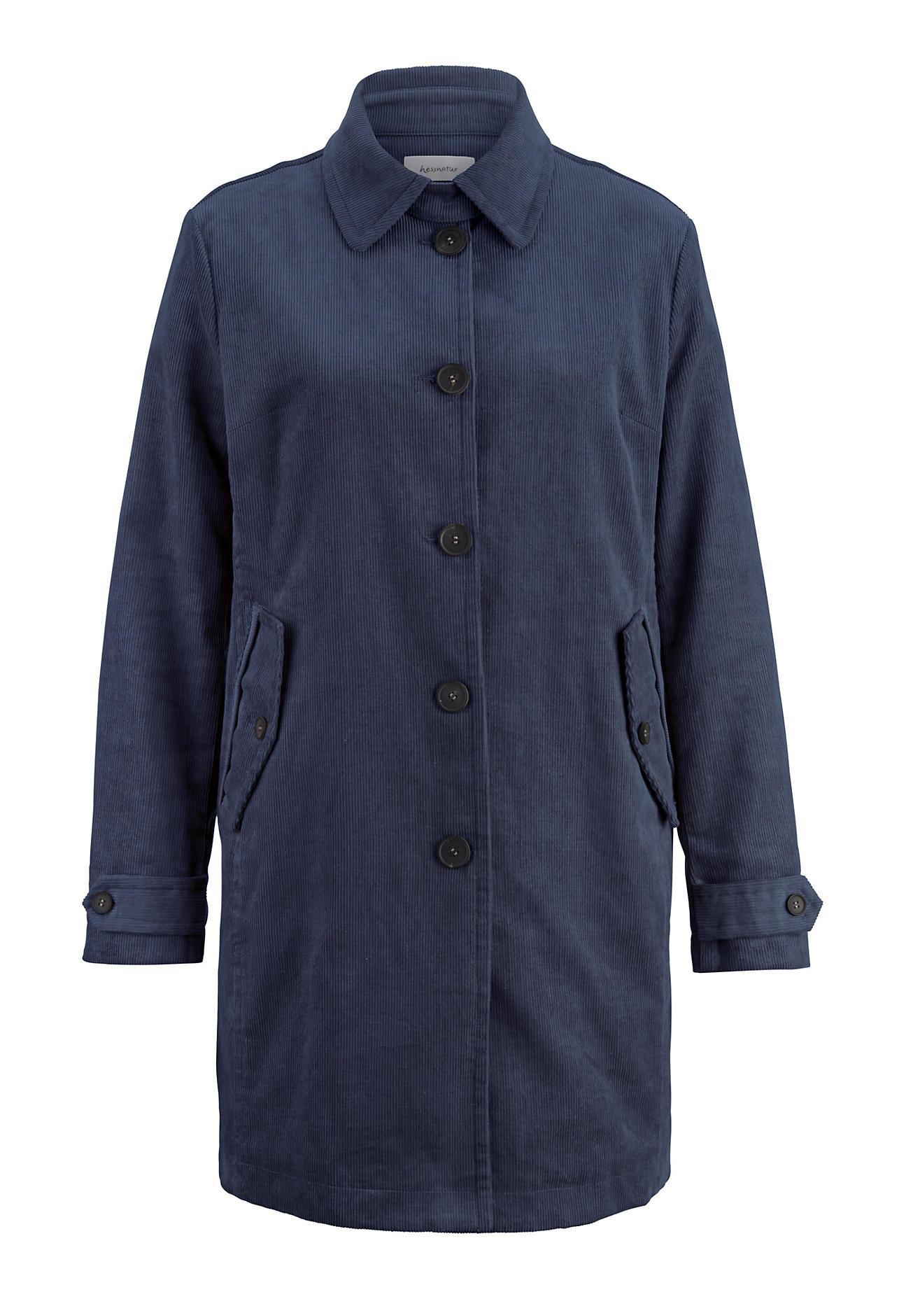 hessnatur Damen Cord Jacke aus Hanf mit Bio-Baumwolle – blau – Größe 46   Bekleidung > Jacken > Cordjacken   hessnatur