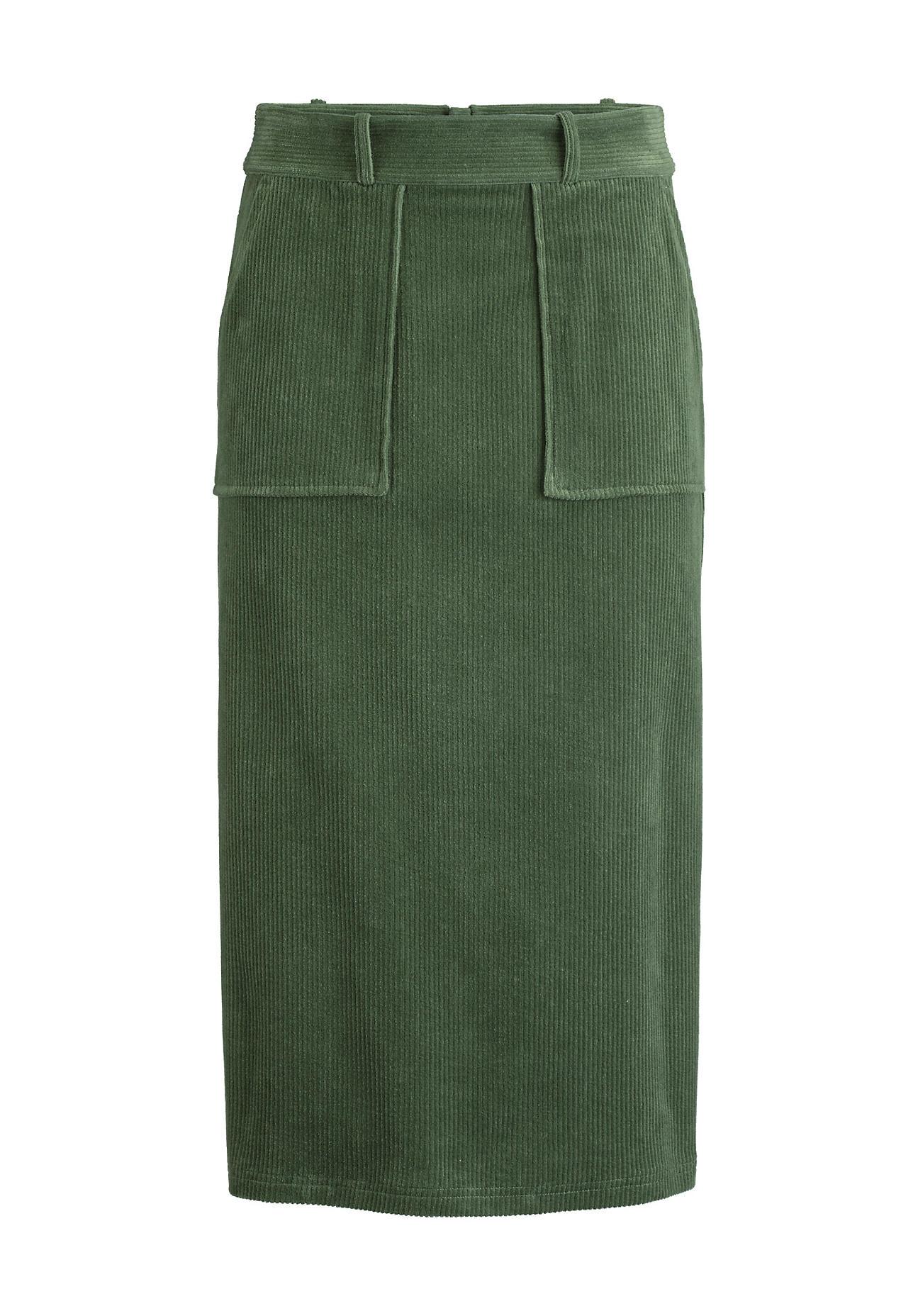 Roecke - hessnatur Damen Cord Rock aus Bio Baumwolle – grün –  - Onlineshop Hessnatur