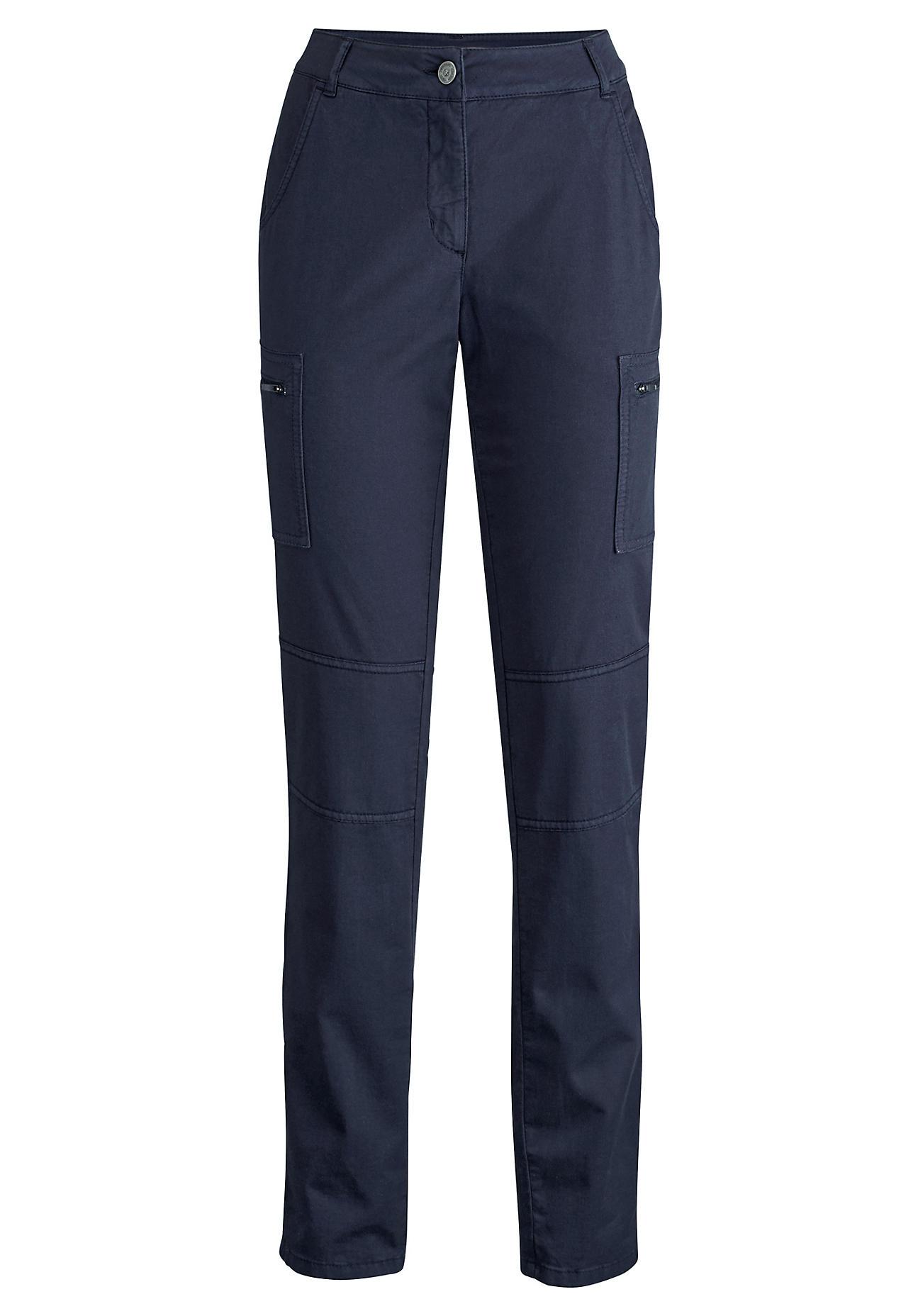 hessnatur Outdoor Damen Cargo-Hose aus Bio-Baumwolle mit Leinen und Elasthan – blau – Größe 36