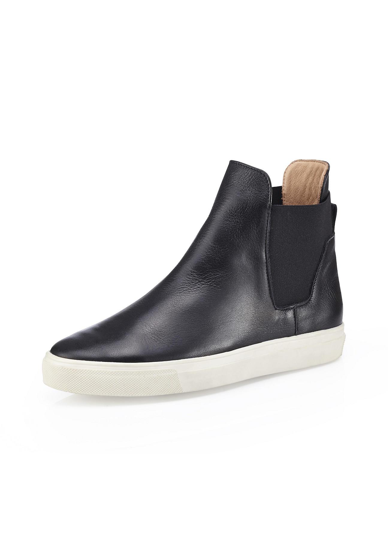 Stiefel für Frauen - hessnatur Damen Damen Chelsea Boots aus Leder – schwarz –  - Onlineshop Hessnatur