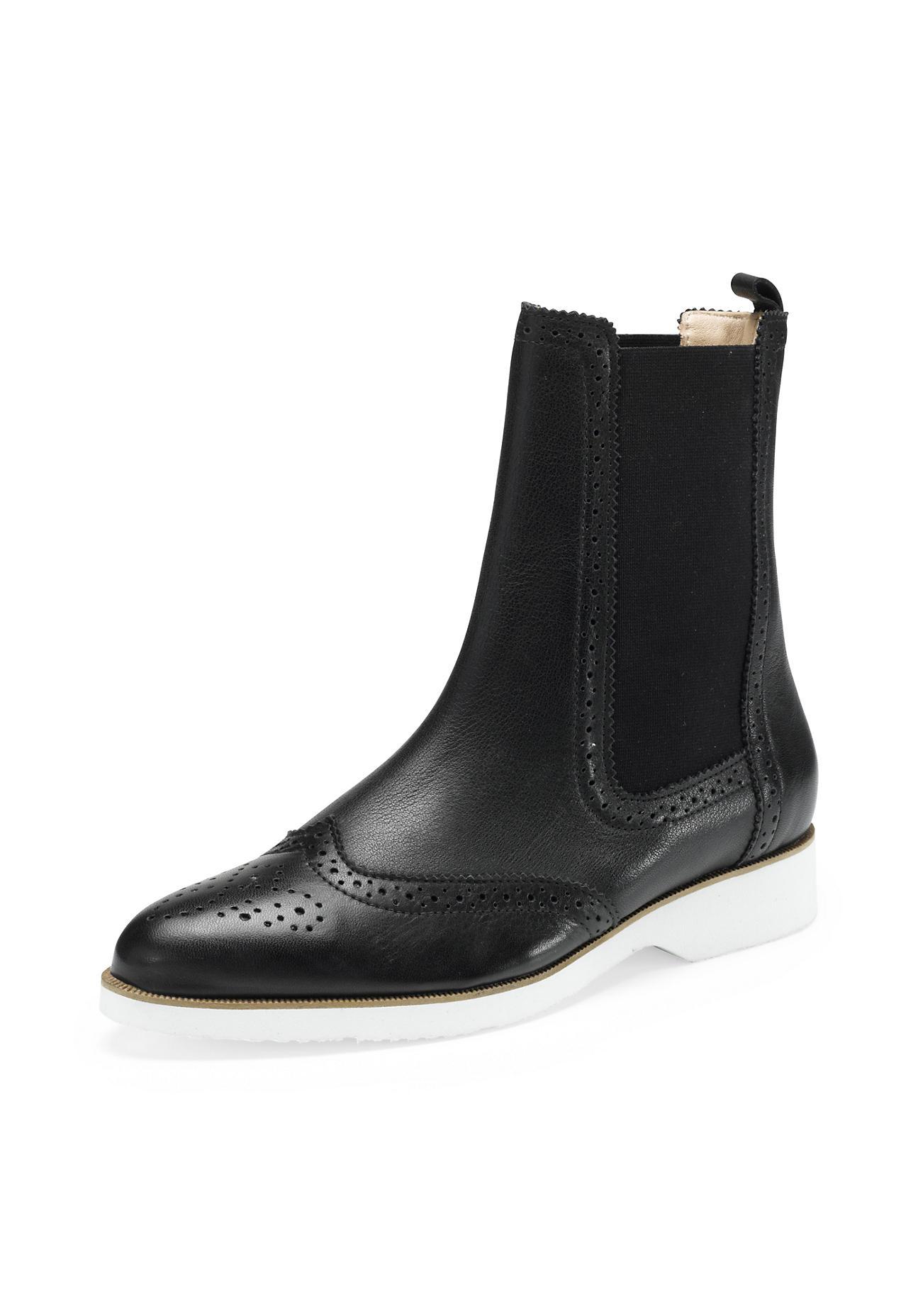 hessnatur Damen Damen Chelsea Boots aus Leder – schwarz – Größe 38