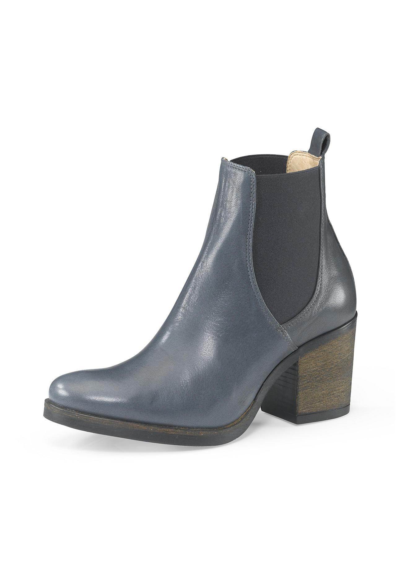 Stiefel - hessnatur Damen Damen Chelsea Boots aus Leder – grau –  - Onlineshop Hessnatur