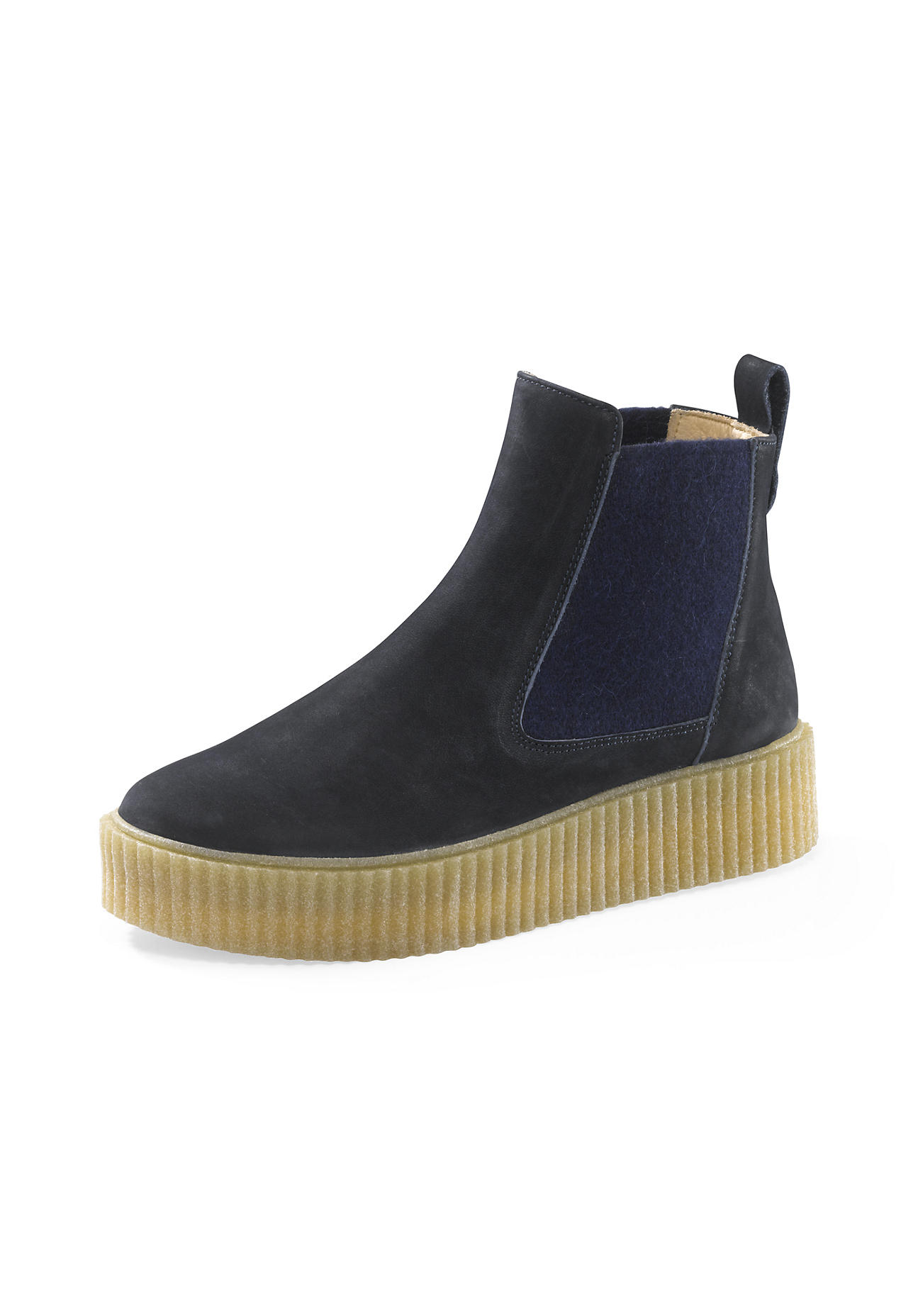 hessnatur Damen Damen Chelsea Boots aus Leder – blau – Größe 36
