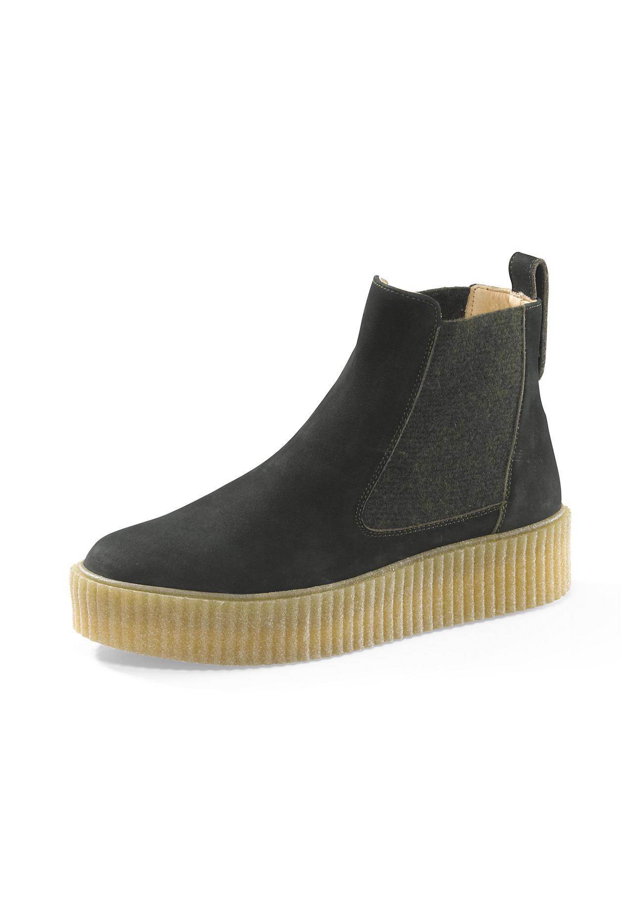 hessnatur Damen Damen Chelsea Boots aus Leder – grün – Größe 36