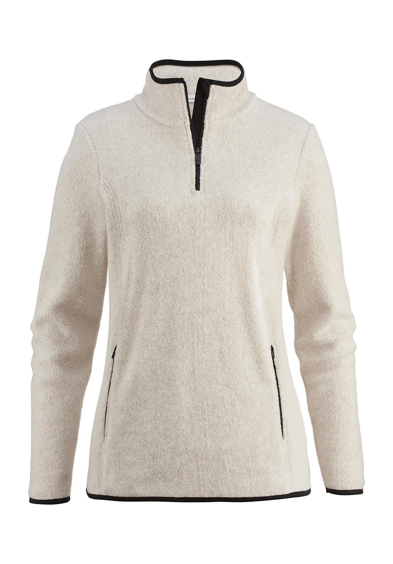 hessnatur Outdoor Damen Fleece-Troyer aus Bio-Baumwolle – beige – Größe 34   Bekleidung > Pullover > Troyer   Düne   Baumwolle - Fleece   hessnatur