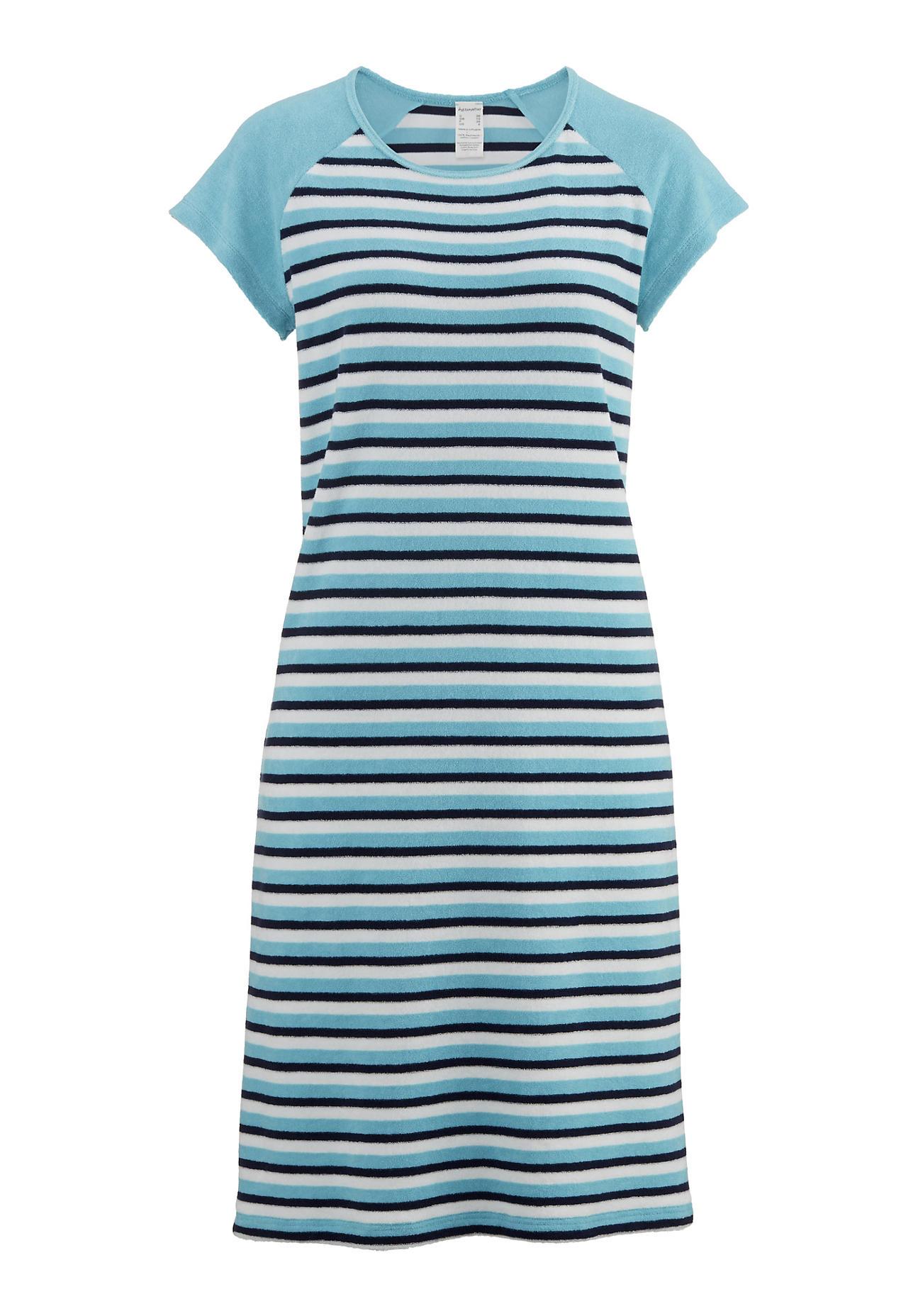 Waesche für Frauen - hessnatur Damen Damen Frottee Nachthemd aus Bio Baumwolle – blau – Größe 38  - Onlineshop Hessnatur