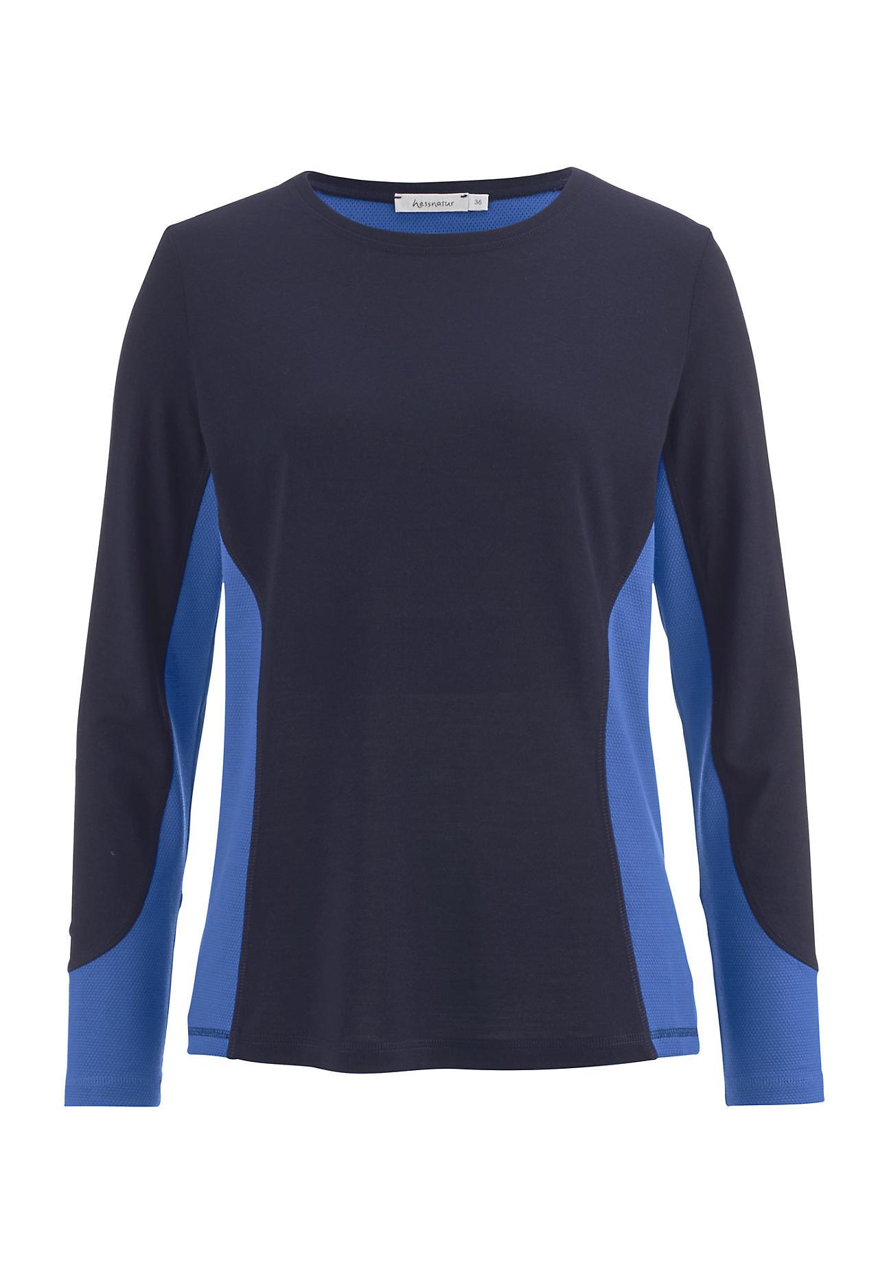 hessnatur Outdoor Damen Funktionsshirt aus Bio-Merinowolle – blau – Größe 38
