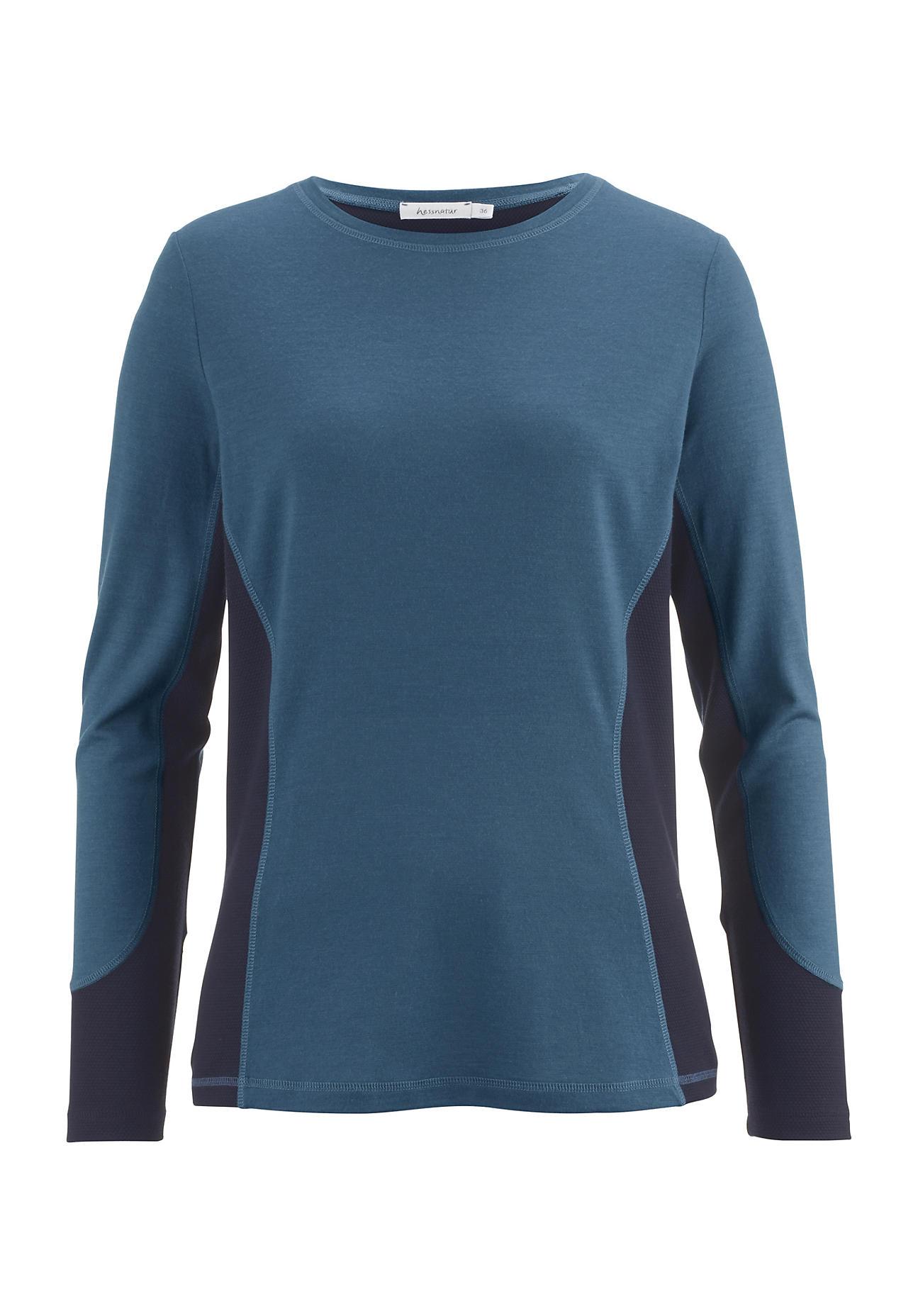 hessnatur Outdoor Damen Funktionsshirt aus Bio-Merinowolle – blau – Größe 34