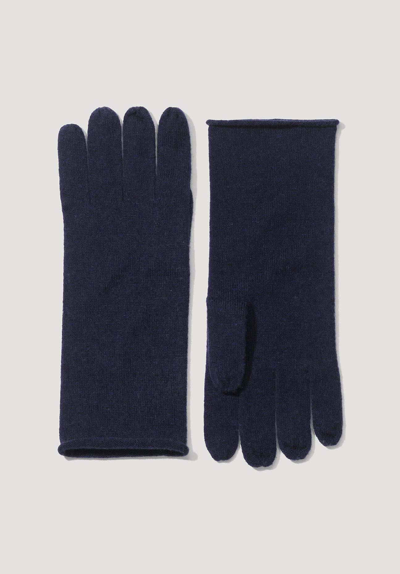 Handschuhe für Frauen - hessnatur Damen Damen Handschuhe aus Schurwolle mit Kaschmir – blau –  - Onlineshop Hessnatur