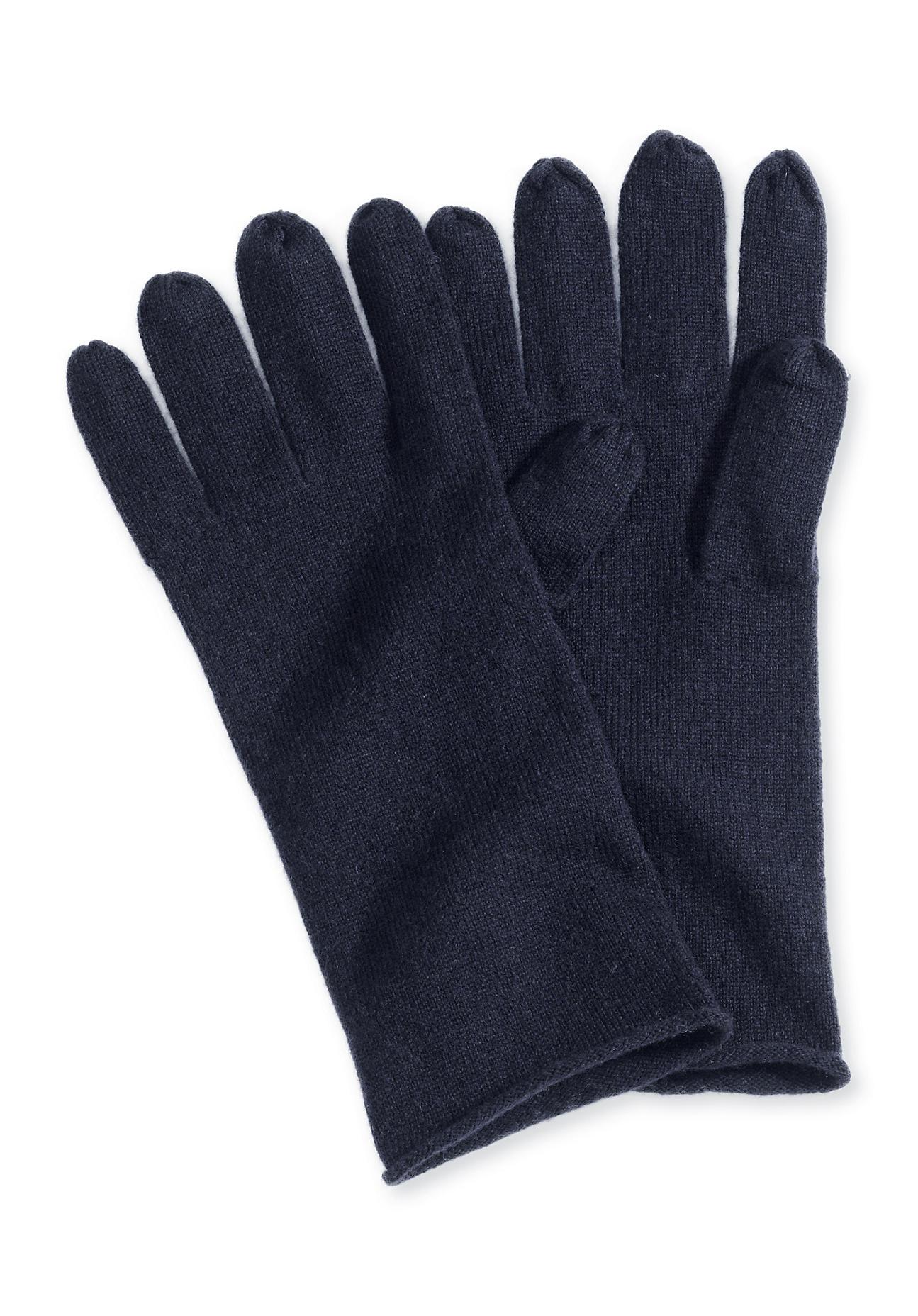 Handschuhe - hessnatur Damen Damen Handschuhe aus Schurwolle mit Kaschmir – blau –  - Onlineshop Hessnatur