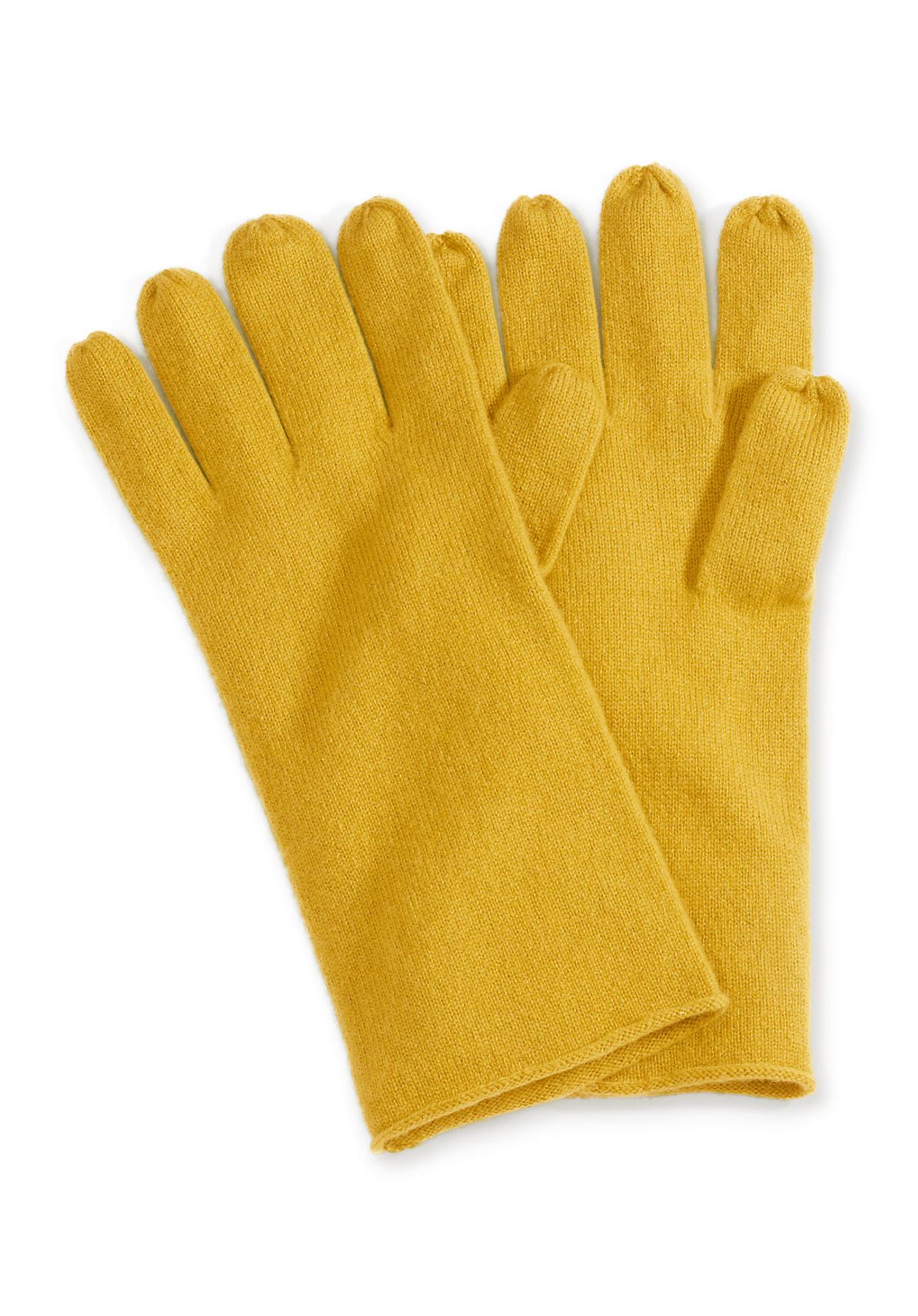 Handschuhe - hessnatur Damen Damen Handschuhe aus Schurwolle mit Kaschmir – gelb –  - Onlineshop Hessnatur