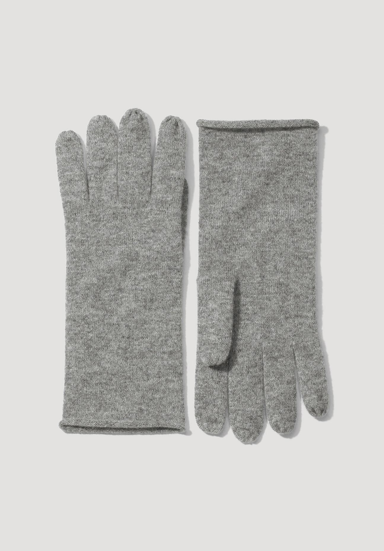 Handschuhe - hessnatur Damen Damen Handschuhe aus Schurwolle mit Kaschmir – grau –  - Onlineshop Hessnatur