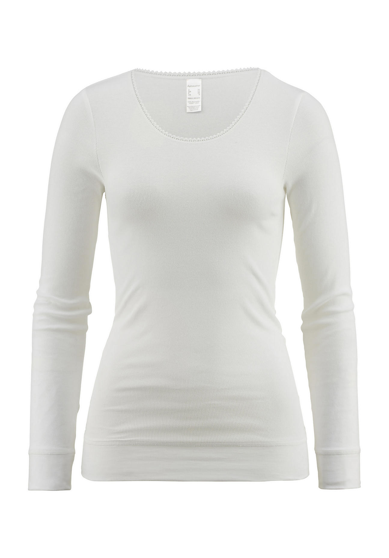 hessnatur Damen Langarm-Shirt aus Bio-Baumwolle – weiß – Größe 46   Bekleidung > Shirts > Langarmshirts   hessnatur