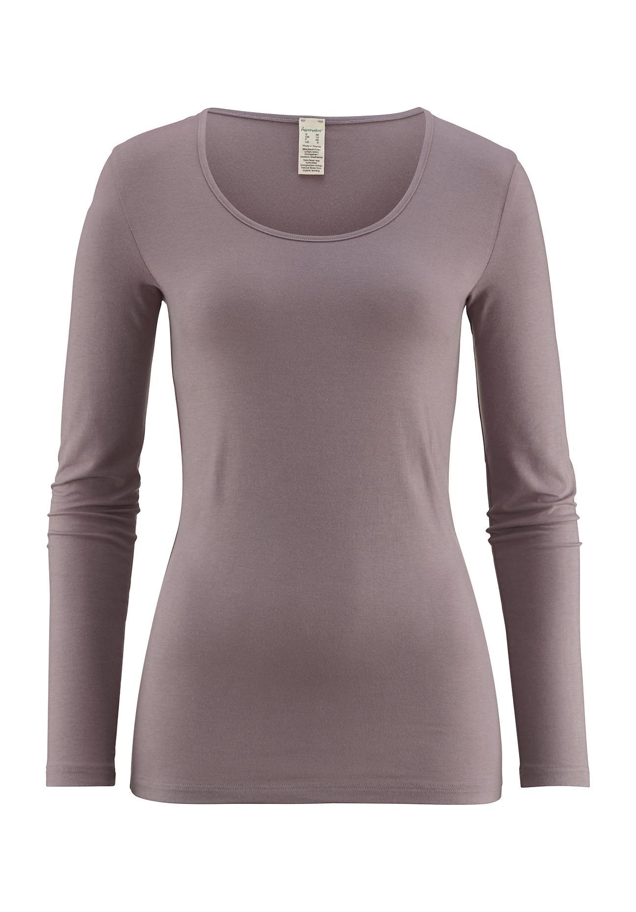 hessnatur Damen Damen Langarm Shirt aus Bio Baumwolle und Modal – lila – Größe 38