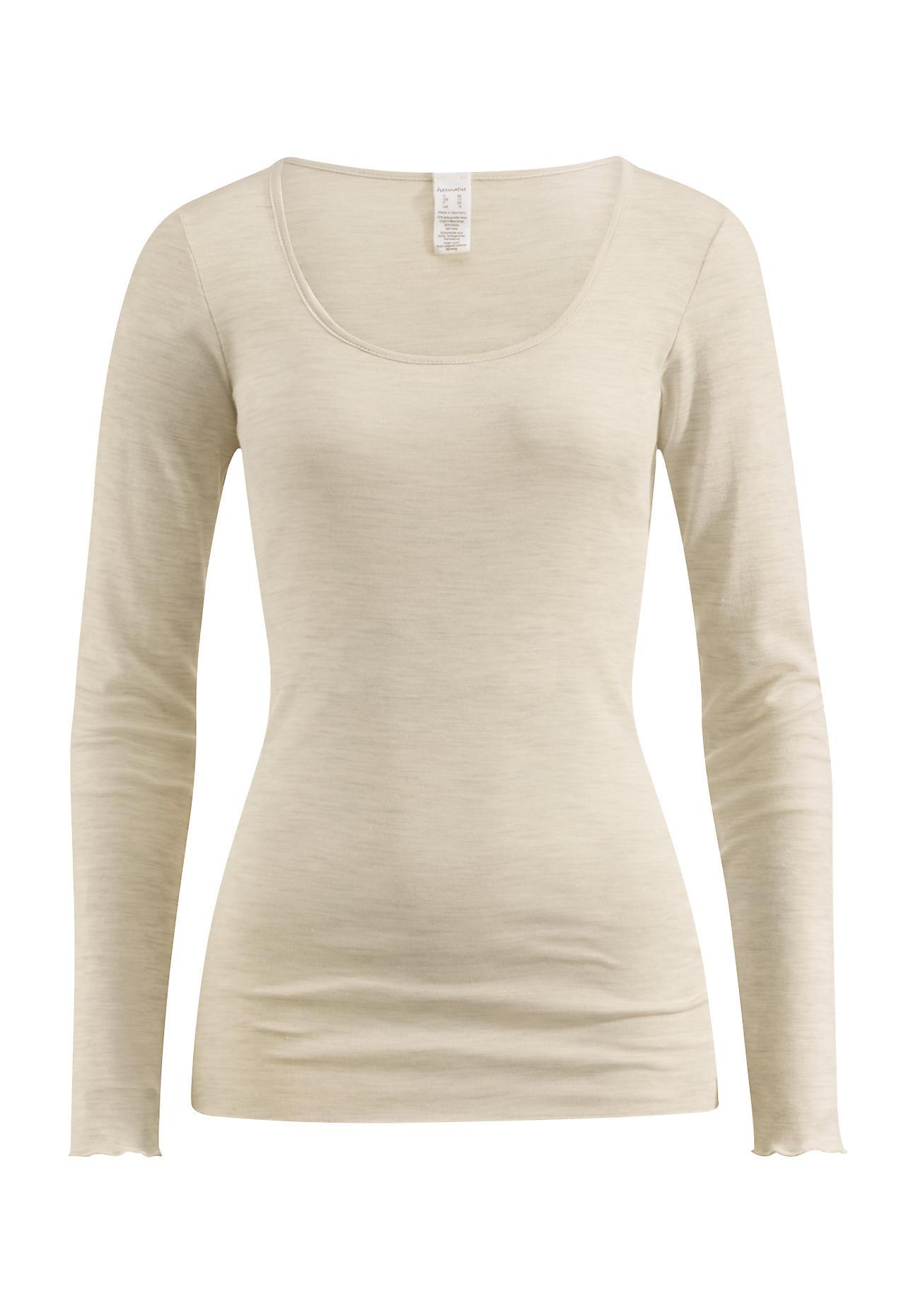 hessnatur Damen Langarmshirt PureWOMAN aus Bio-Merinowolle mit Seide – naturfarben – Größe 34