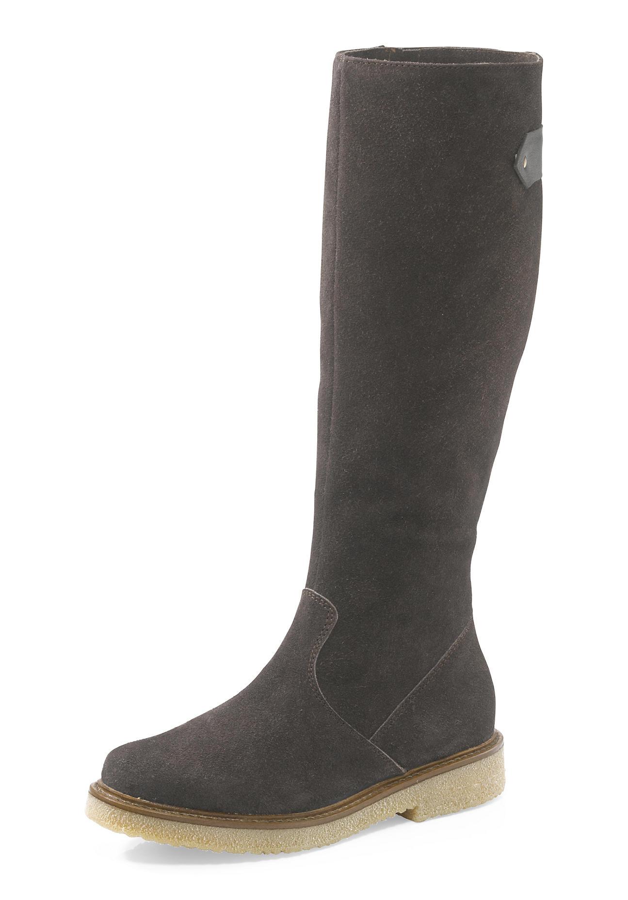Stiefel - hessnatur Damen Damen Langschaft Stiefel aus Veloursleder – braun –  - Onlineshop Hessnatur