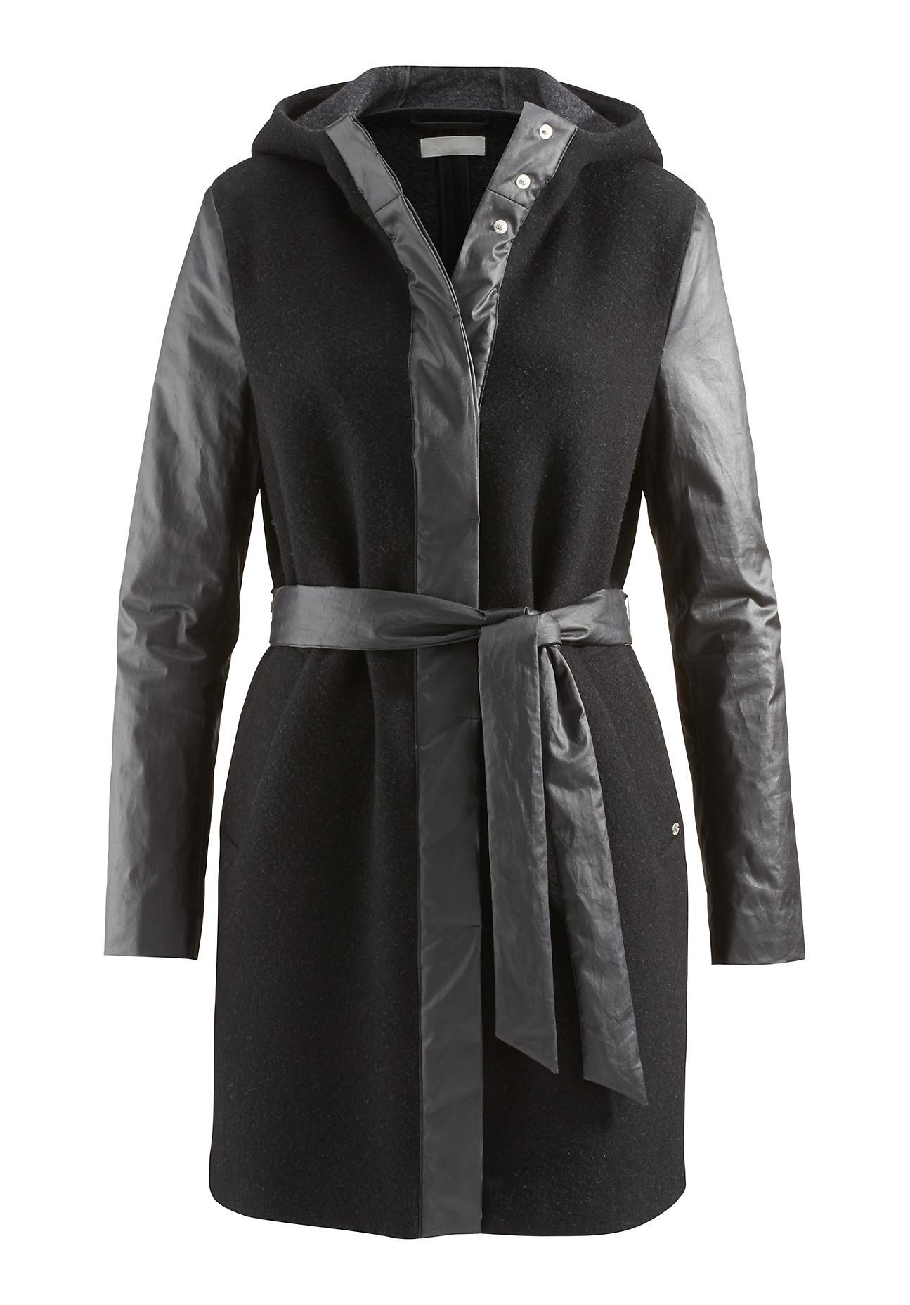 hessnatur Outdoor Damen Mantel aus Schurwolle mit Bio-Baumwolle – schwarz – Größe 40 | Sportbekleidung > Sportmäntel > Outdoormäntel | Schwarz | Baumwolle | hessnatur