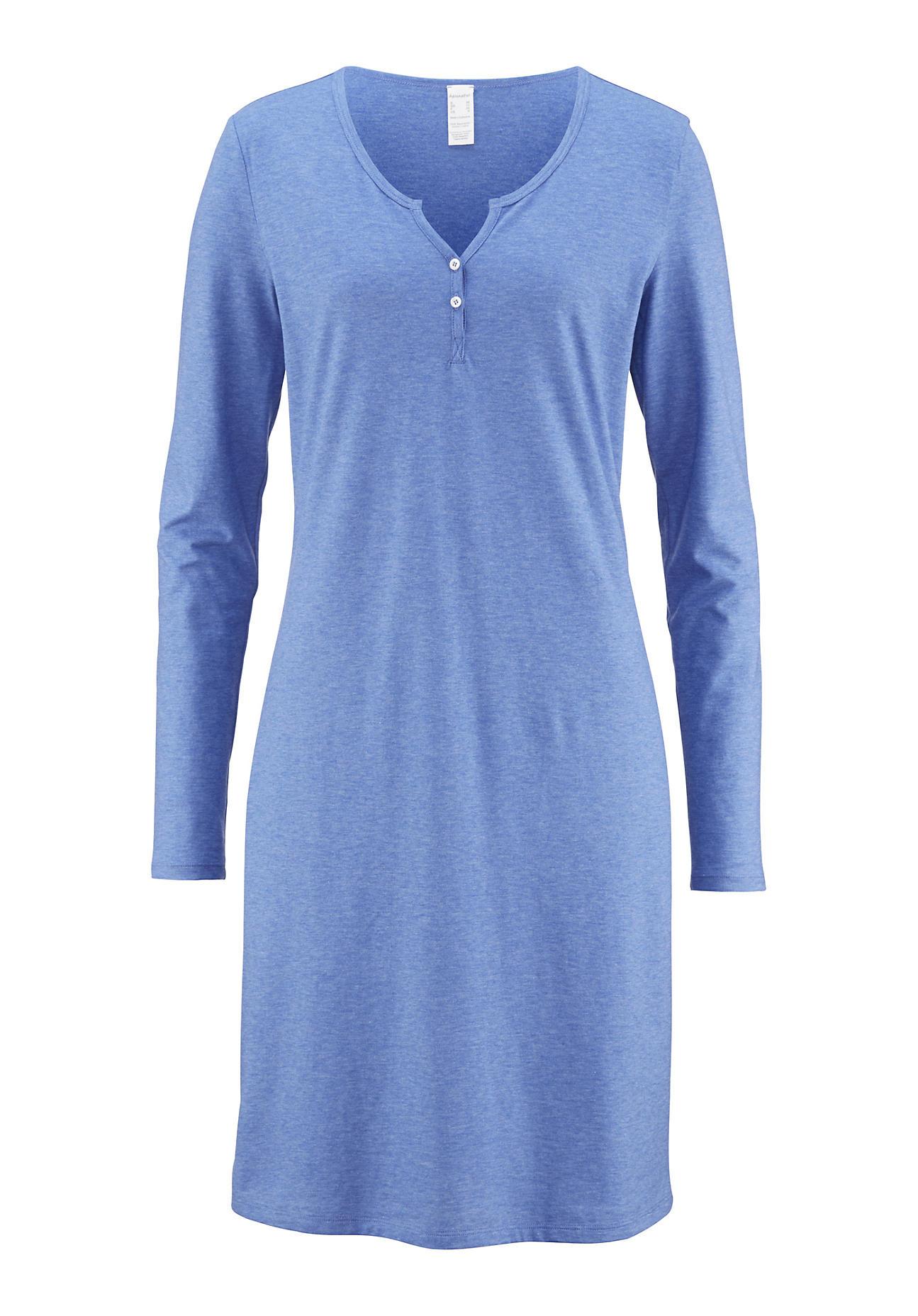 hessnatur Damen Damen Nachthemd aus Bio Baumwolle – blau – Größe 38