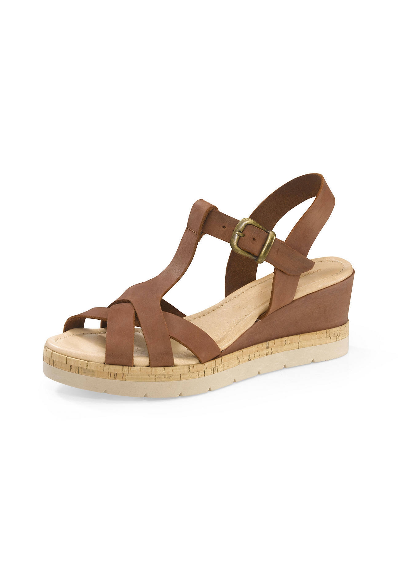 hessnatur Damen Damen Plateau-Sandalette aus Leder – braun – Größe 41