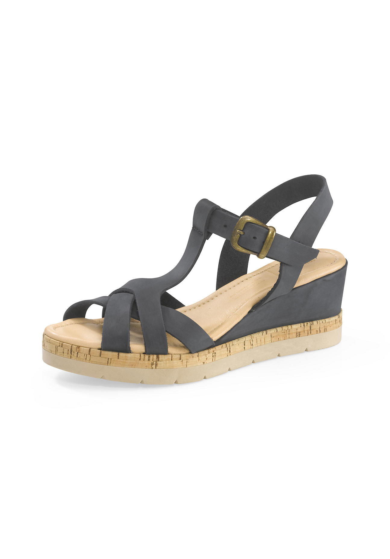 hessnatur Damen Damen Plateau-Sandalette aus Leder – schwarz – Größe 38