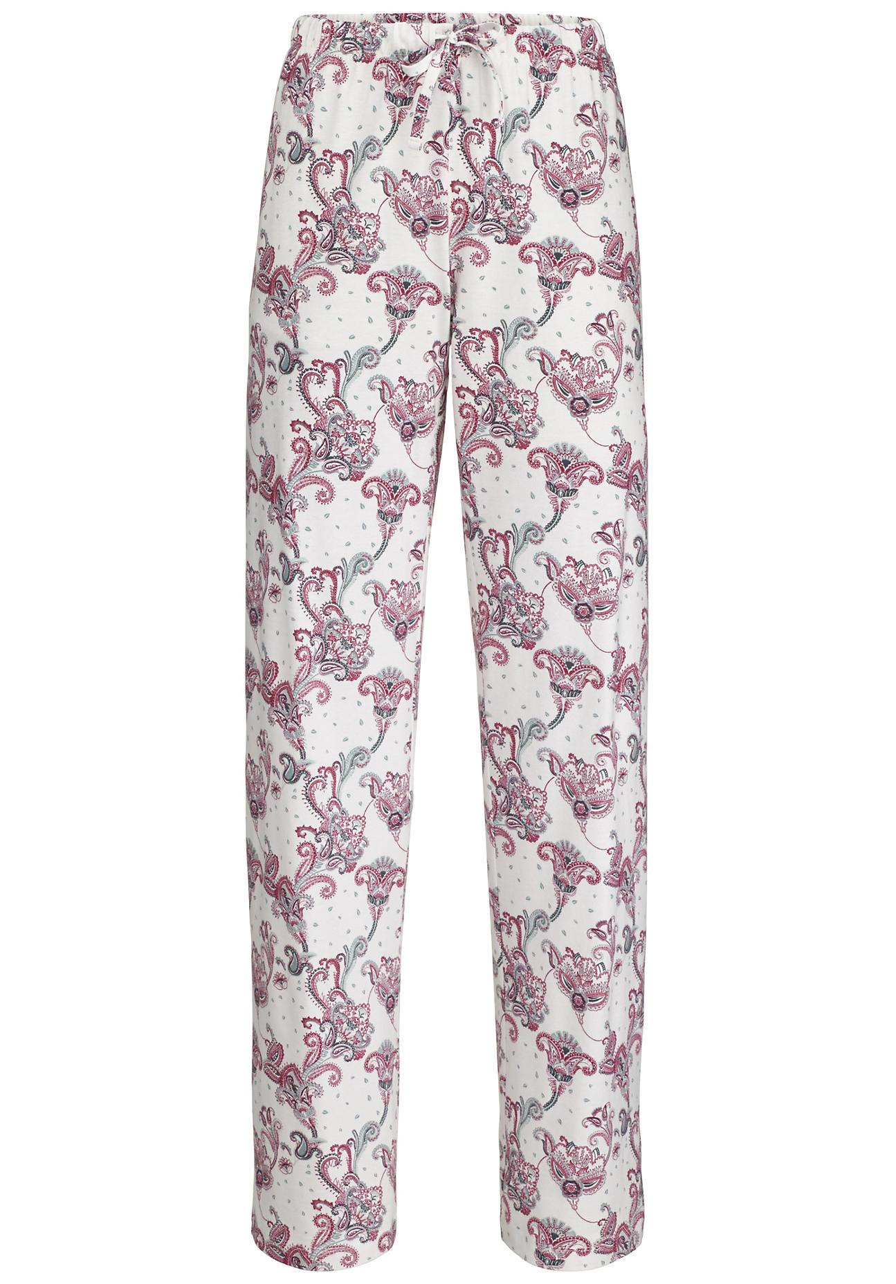 hessnatur Damen Damen Pyjamahose aus Bio-Baumwolle – weiß – Größe 48