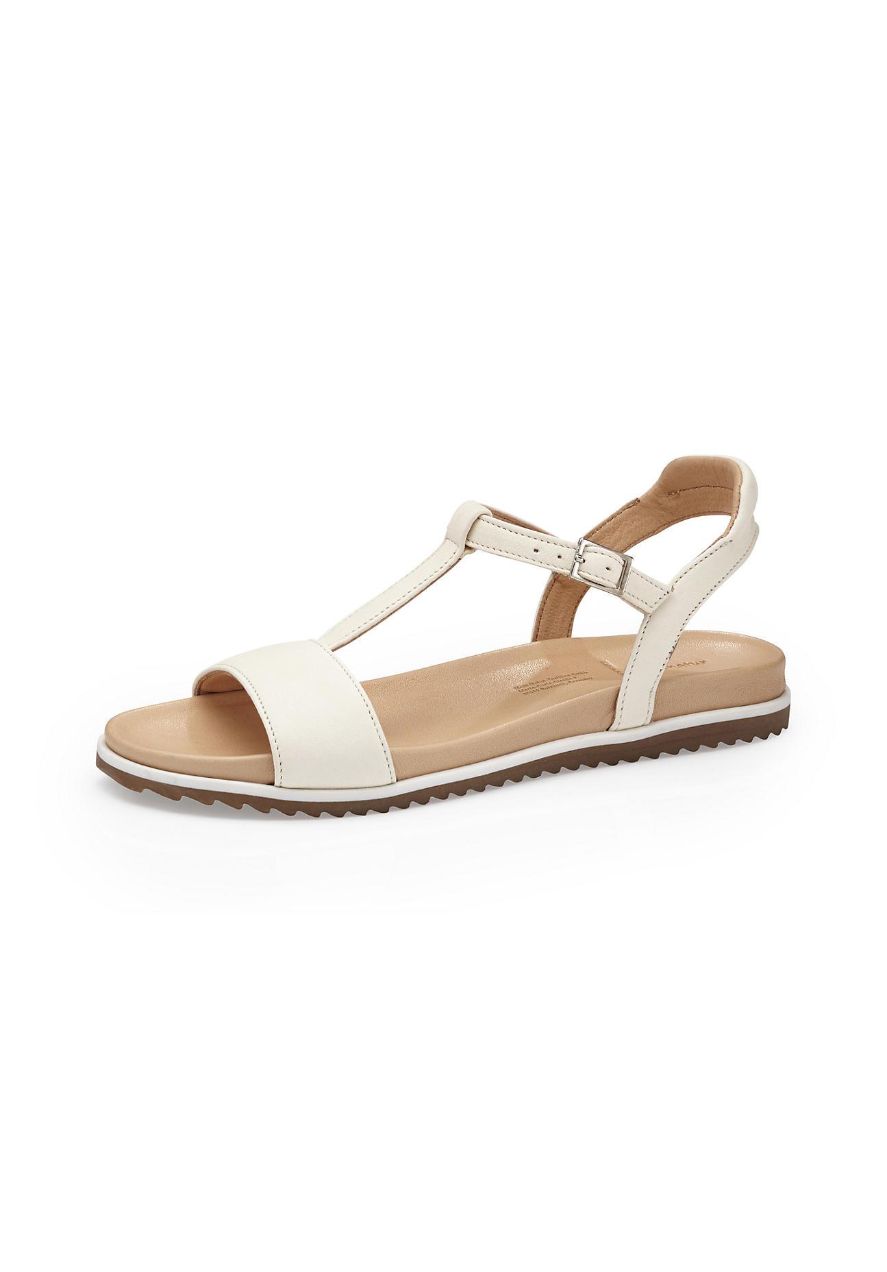 hessnatur Damen Damen Sandale aus Leder – weiß – Größe 41